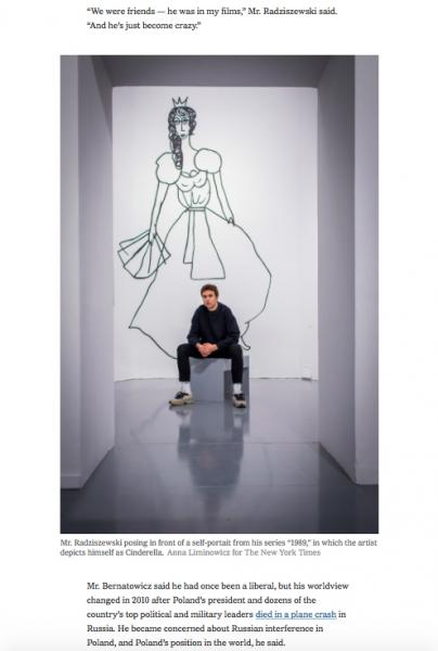 """Mr. Radziszewski posing in front of a self-portait from his series """"1989,"""" in which the artist depicts himself as Cinderella.   Anna Liminowicz for The New York Times      NYTimes"""