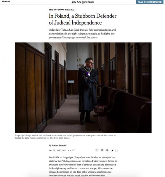 In Poland, a Stubborn Defender of Judicial Independence  for The New York Times