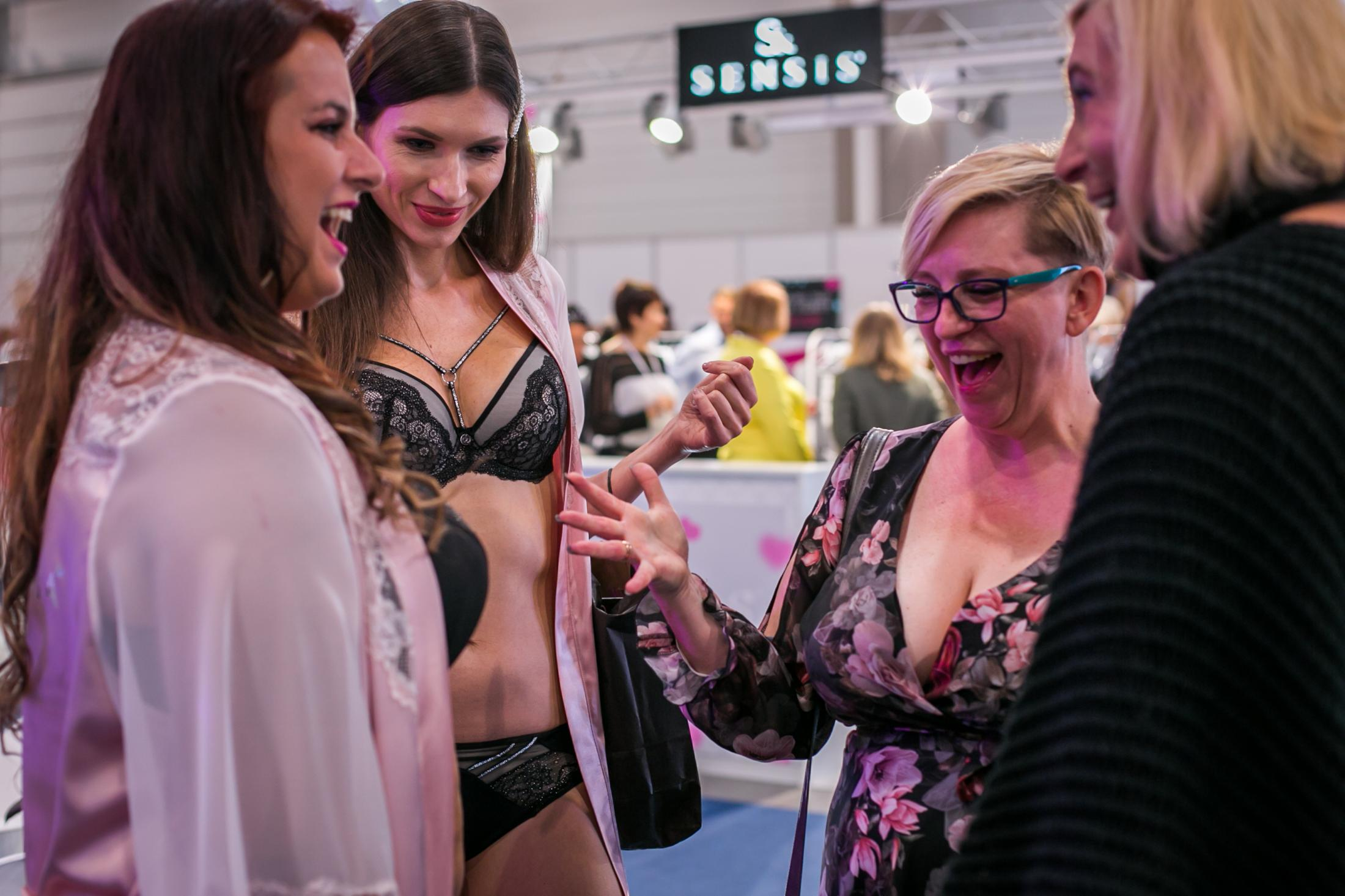 Models show looks at a lingerie show in Lodz, Poland.