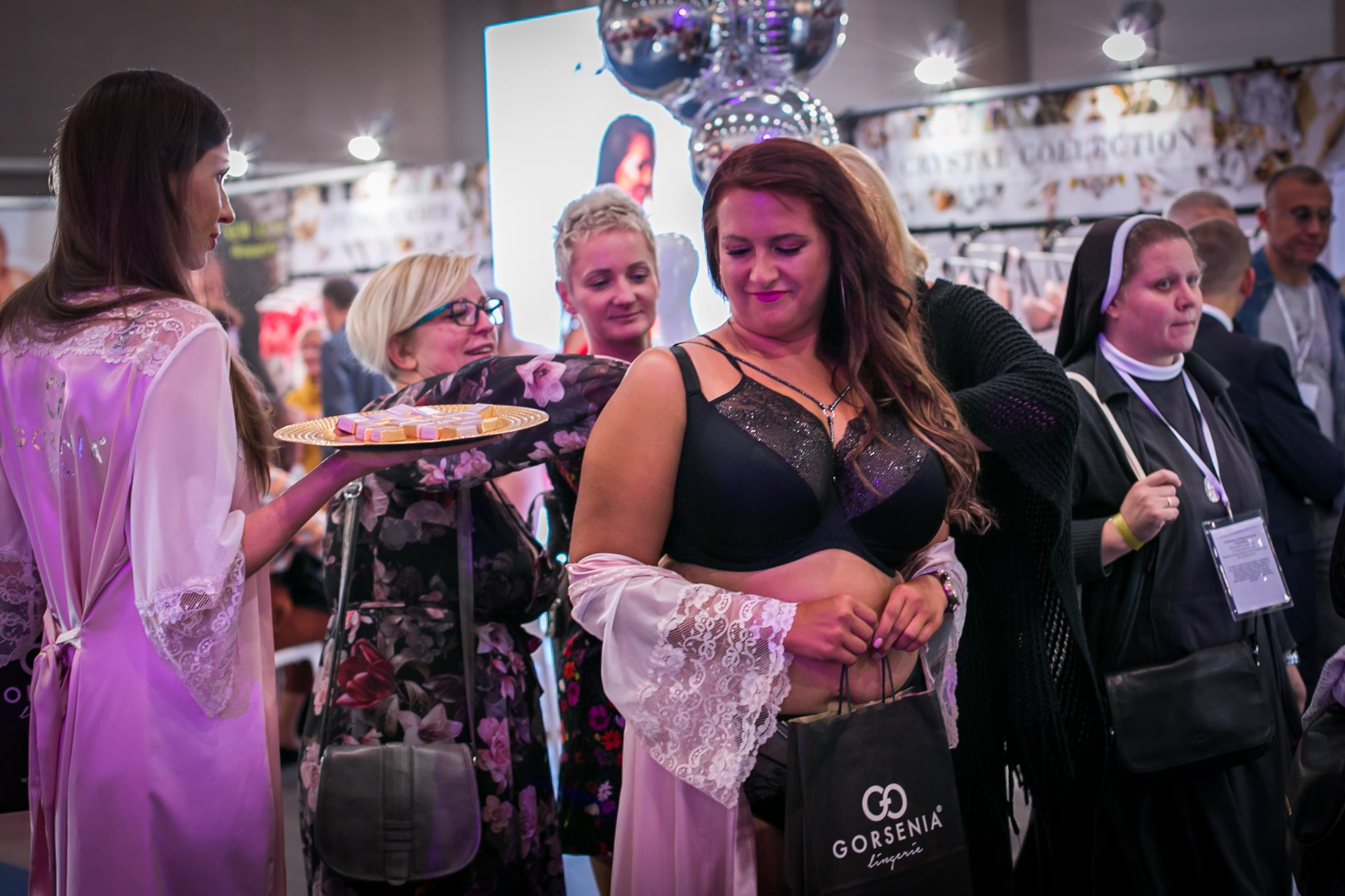 A model shows one style at the trade show
