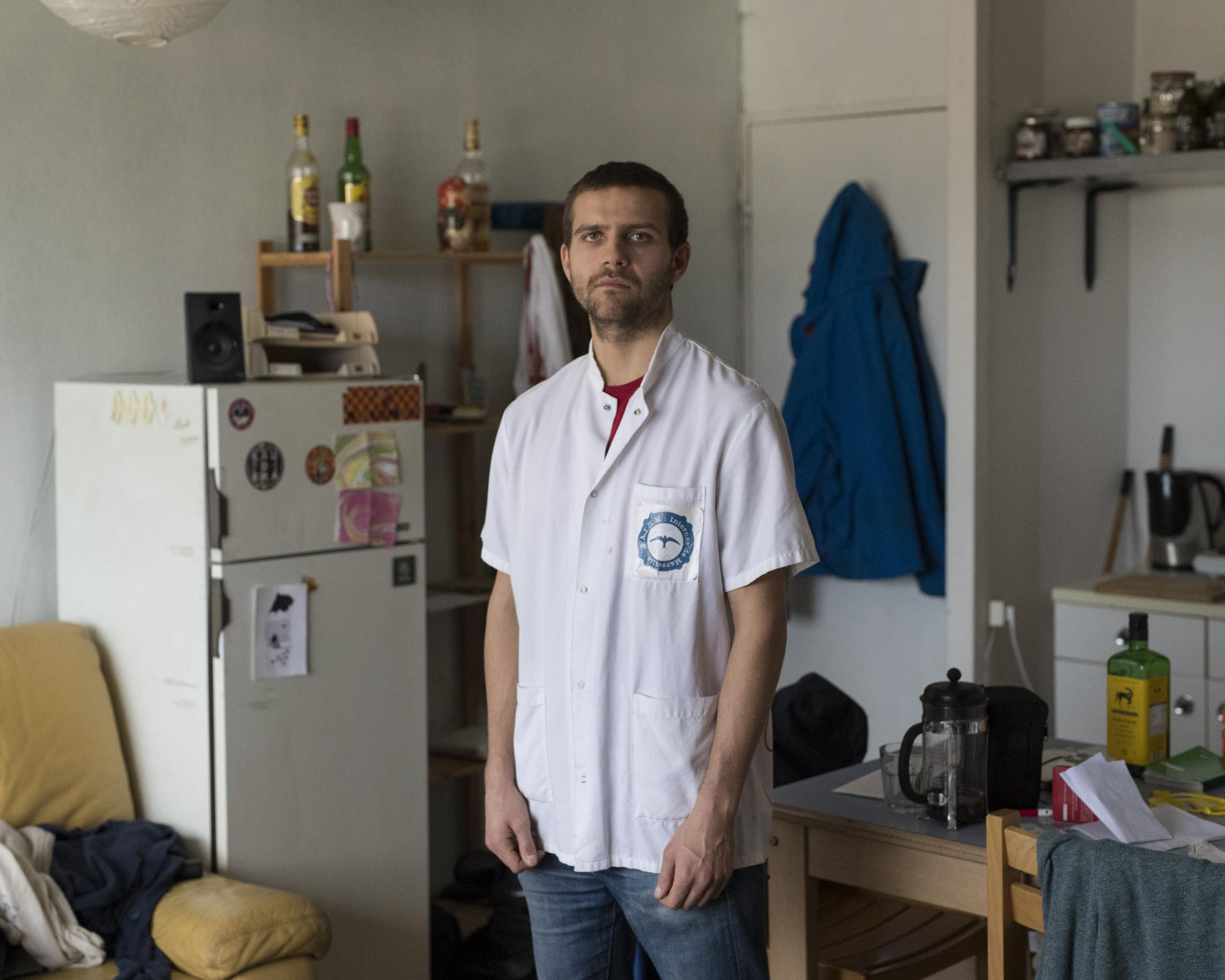 Xavier Charléty, a general medicine intern on strike poses for a portrait in his room at the intern residency in Marseille's La Timone hospital, Dec. 18, 2019.