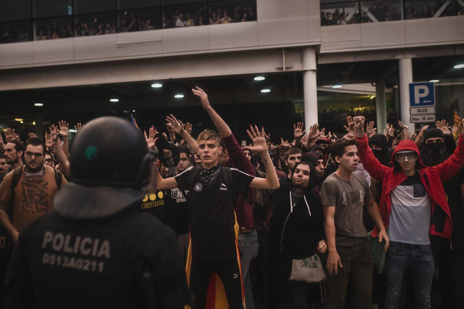 Protesters occupy the airport. More than 150 flights were canceled, and several others were delayed as activists clashed with police. Apart from jailing the nine separatist leaders, the court also issued a European arrest warrant for former regional president Carles Puigdemont who managed to evade Spanish authorities after the failed 2017 independence bid and now lives in exile in Belgium. Madrid had previously sought his extradition but dropped the arrest warrant in mid-2018 after Germany refused to hand him over. (October 14,2019. Barcelona, Spain)