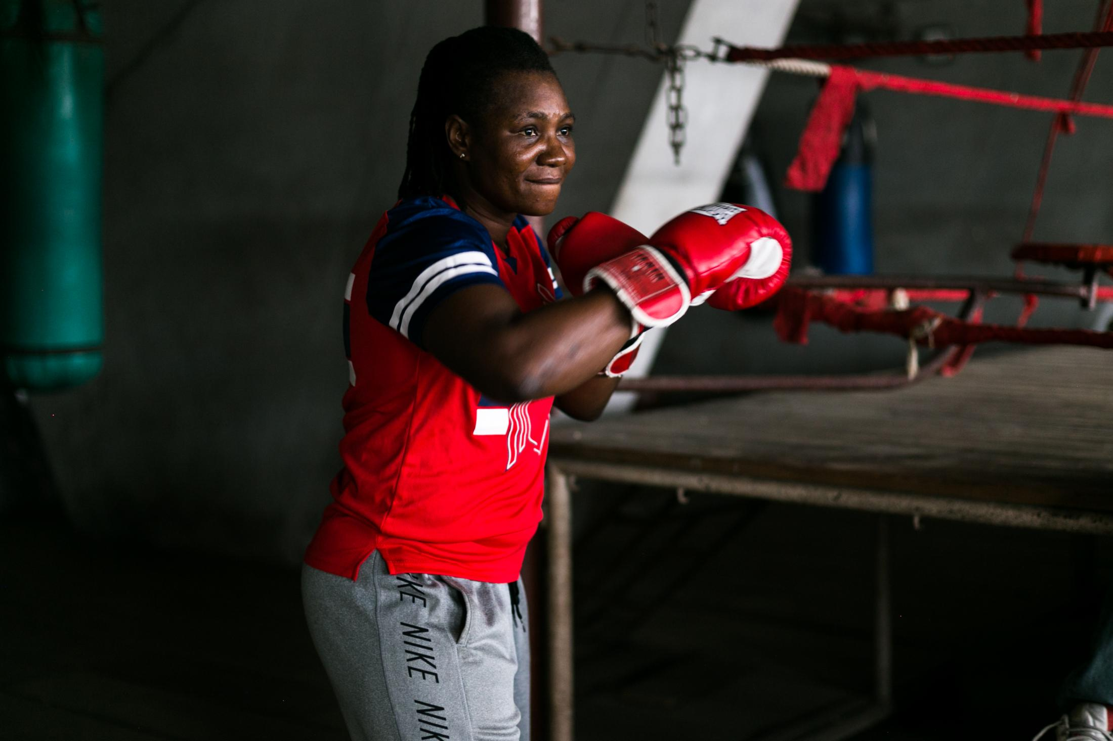 11 July 2019: Edith, warms up for sparring in the National Stadium gym, Lagos, Nigeria