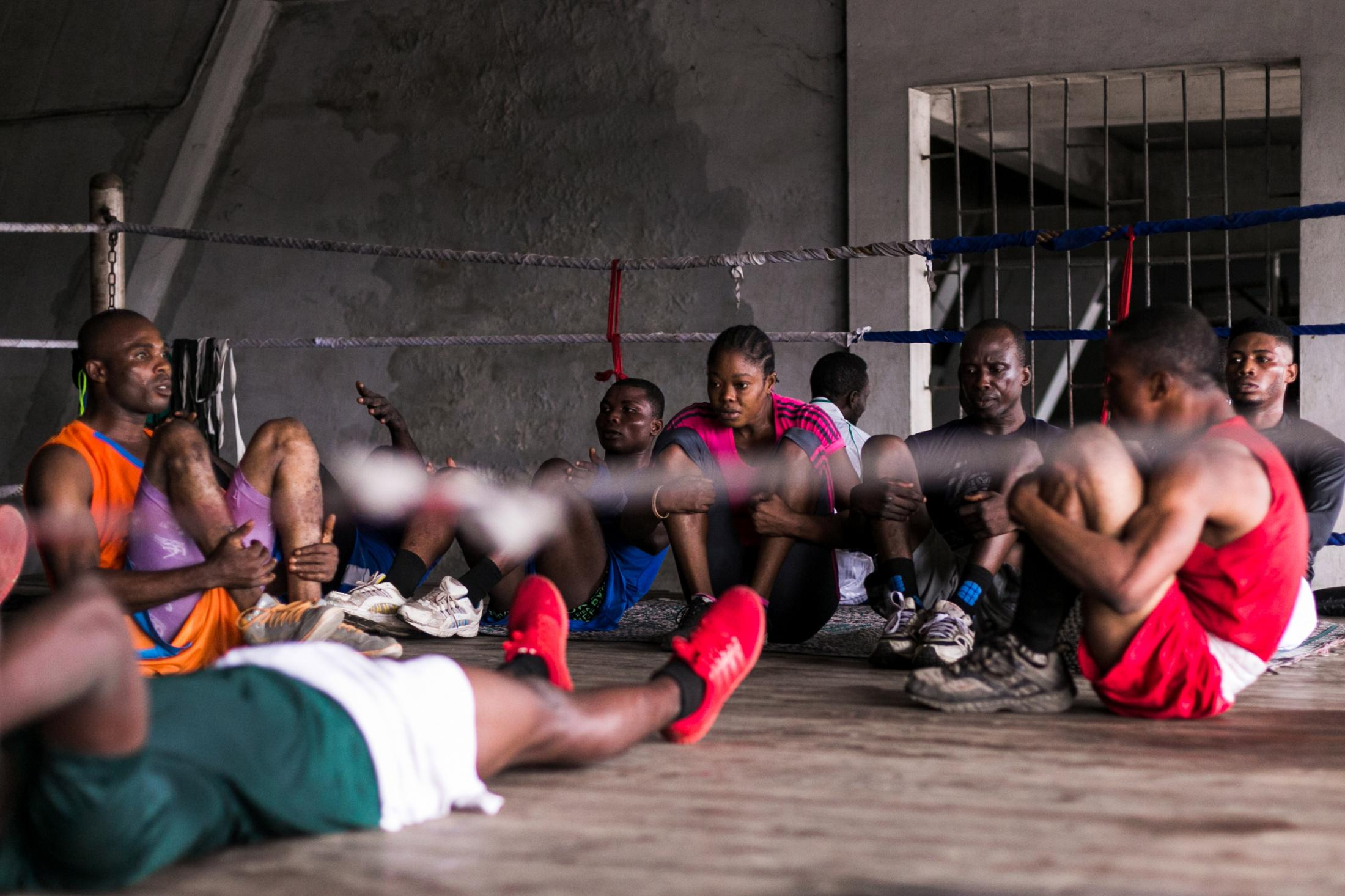 11 July 2019: Some boxers training in the National Stadium Lagos, Nigeria