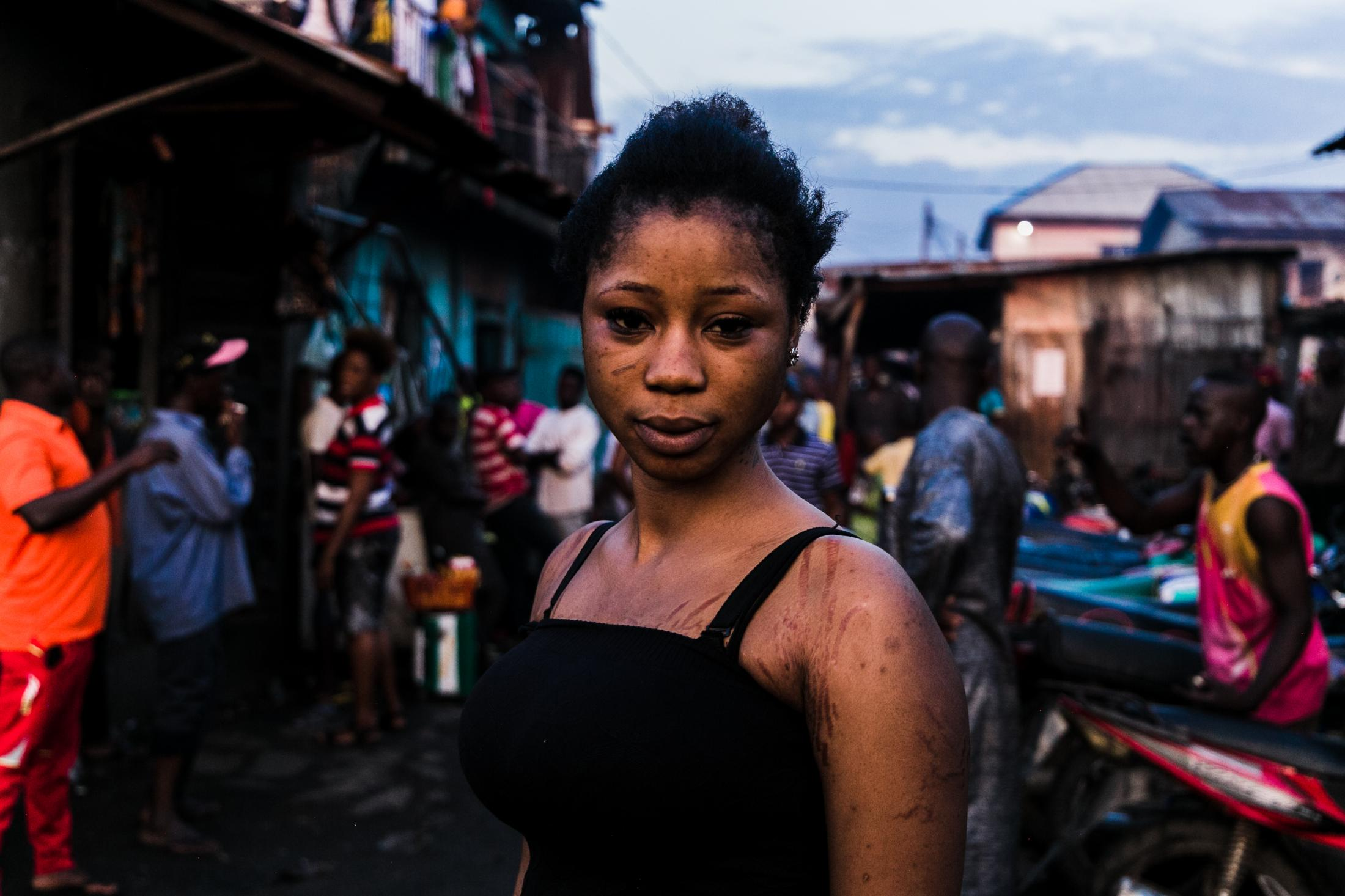 11 July 2019: Rejoice Endurance, a dambe female fighter who competes with her male counterparts, Lagos, Nigeria