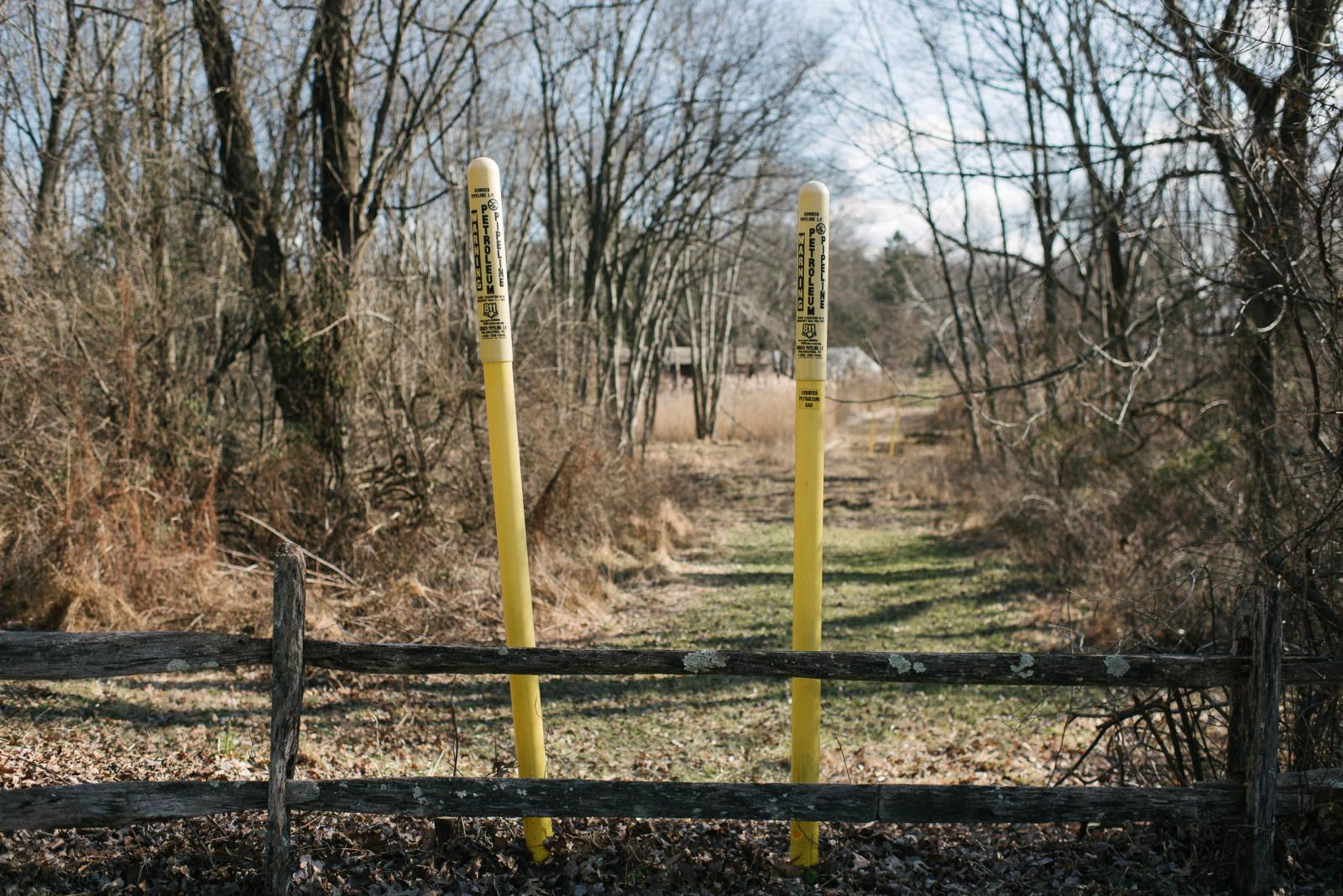 Warning signs for the Mariner East Pipeline sit on Shepherd Lane in Glen Mills, PA. on Thursday, January 16, 2020. Photo by Hannah Yoon