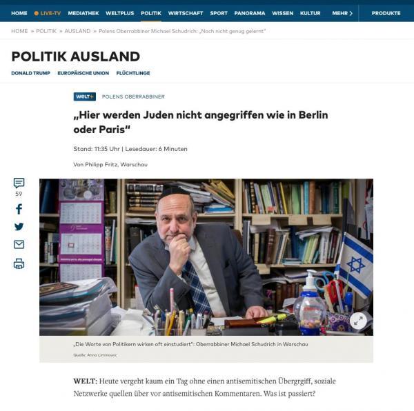 Chief Rabbi of Poland Michael Schudrich. Portrait for WELT/WELT AM SONNTAG