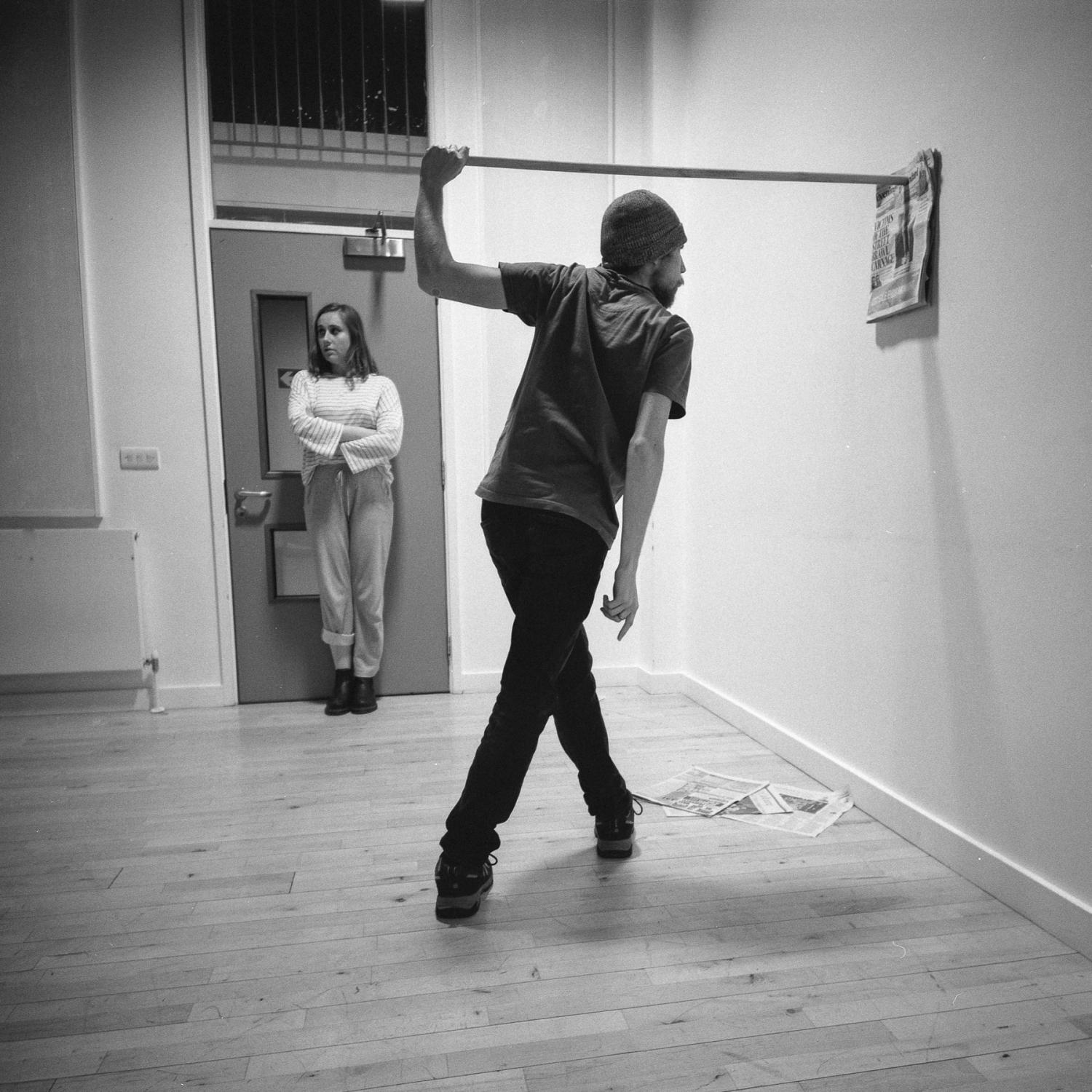 Actors Hana Kelly and Jack Tivey at a rehearsal. London, January 2020.