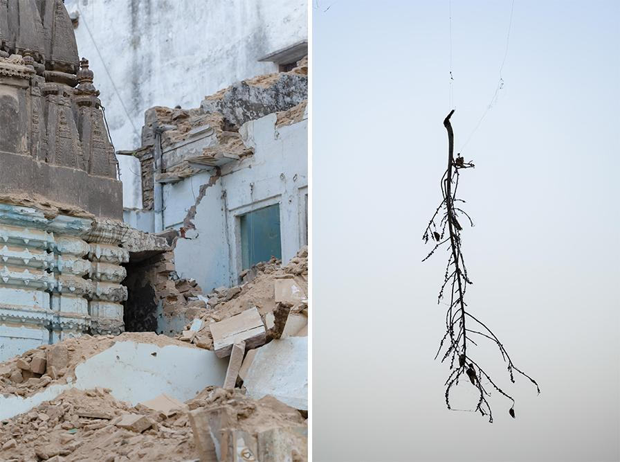 A broken front of a temple next to Kashi Vishwanath Temple. The Kashi Vishwanath Temple is widely recognized as one of the most important places of worship in the Hindu religion. The Kashi Vishwanath Corridor Project announced in March 2018 is an initiative aimed at giving the temple an undiluted visual prominence and providing pilgrims uncongested roads from the temple to the ghats which in turn has jeopardized livelihoods of hundreds of people who have been living there since generations.