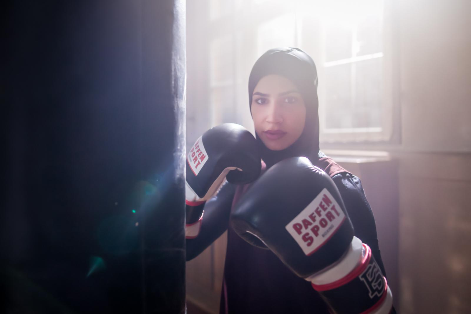 German featherweight boxing champion Zeina Nassar, 21, portrayed at her first boxing gym in Berlin Kreuzberg. Berlin, Germany, November 23, 2018.