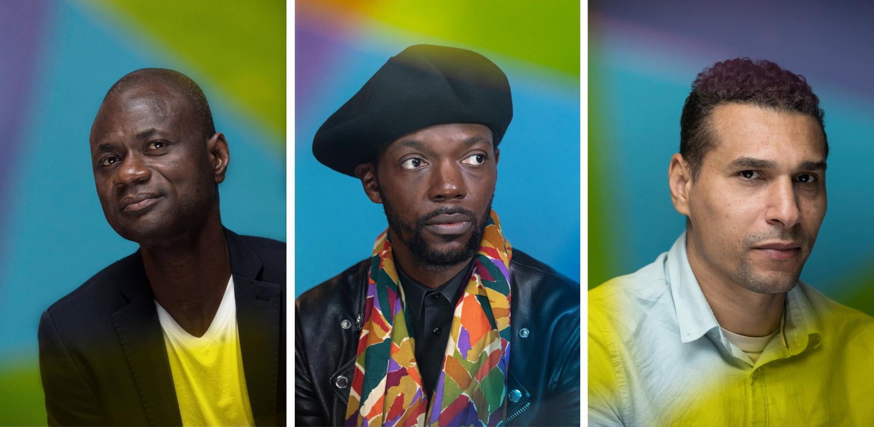 Portraits (left to right) Festival director Alex Moussa Sawadogo, rapper & filmmaker Baloji and film director Yuri Ceuninck.