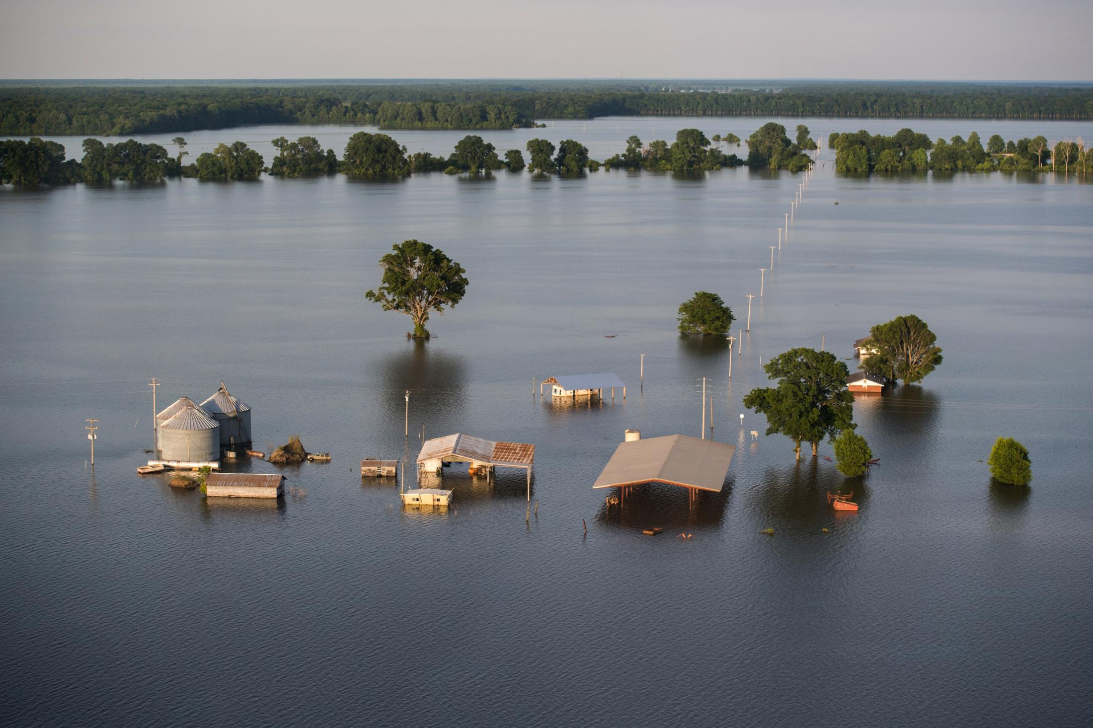 Backwater flooding surrounds a farm in the lower Mississippi Delta June 14, 2019.
