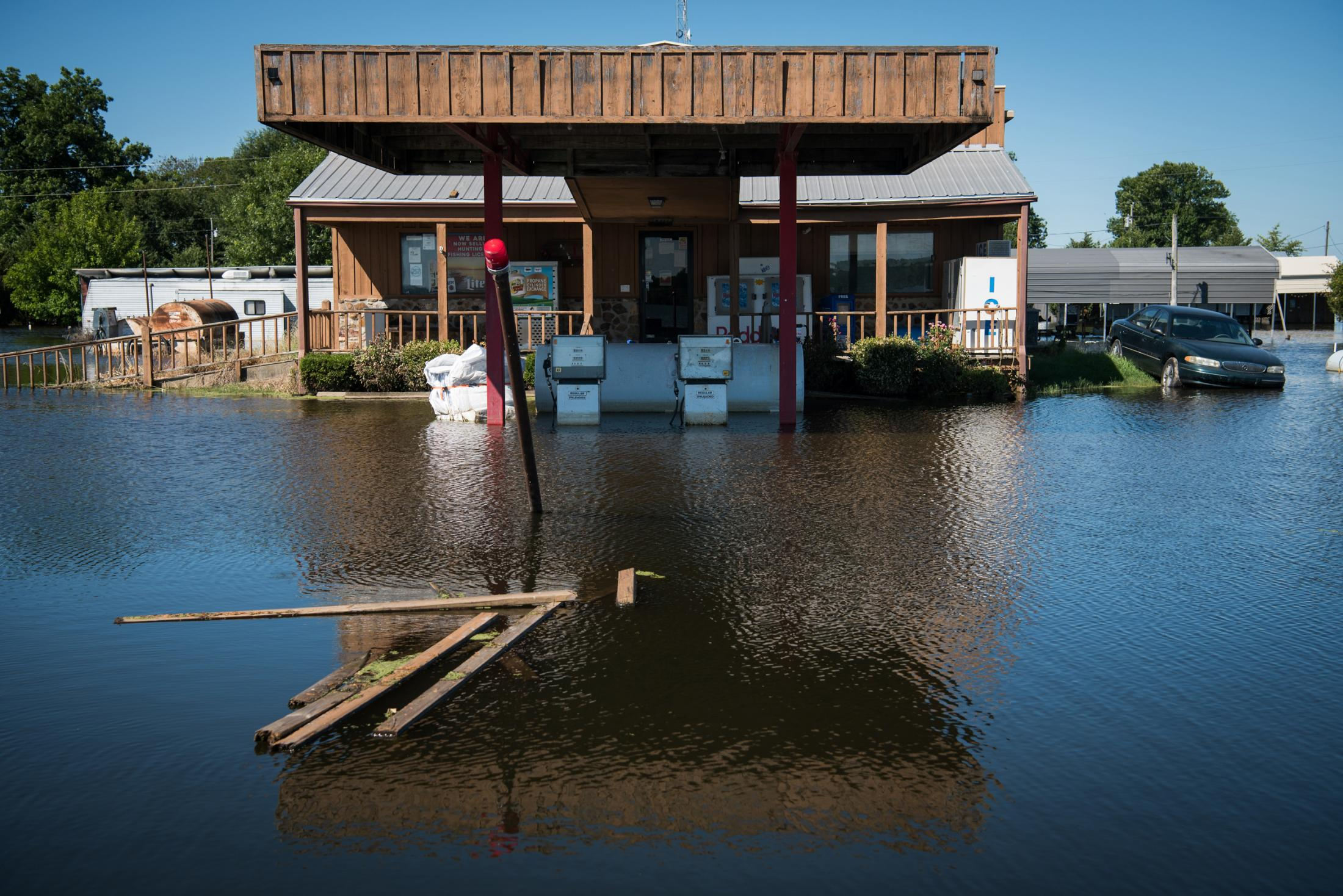 A country store at Eagle Lake in Warren County, Mississippi is surrounded by floodwater June 13, 2019.