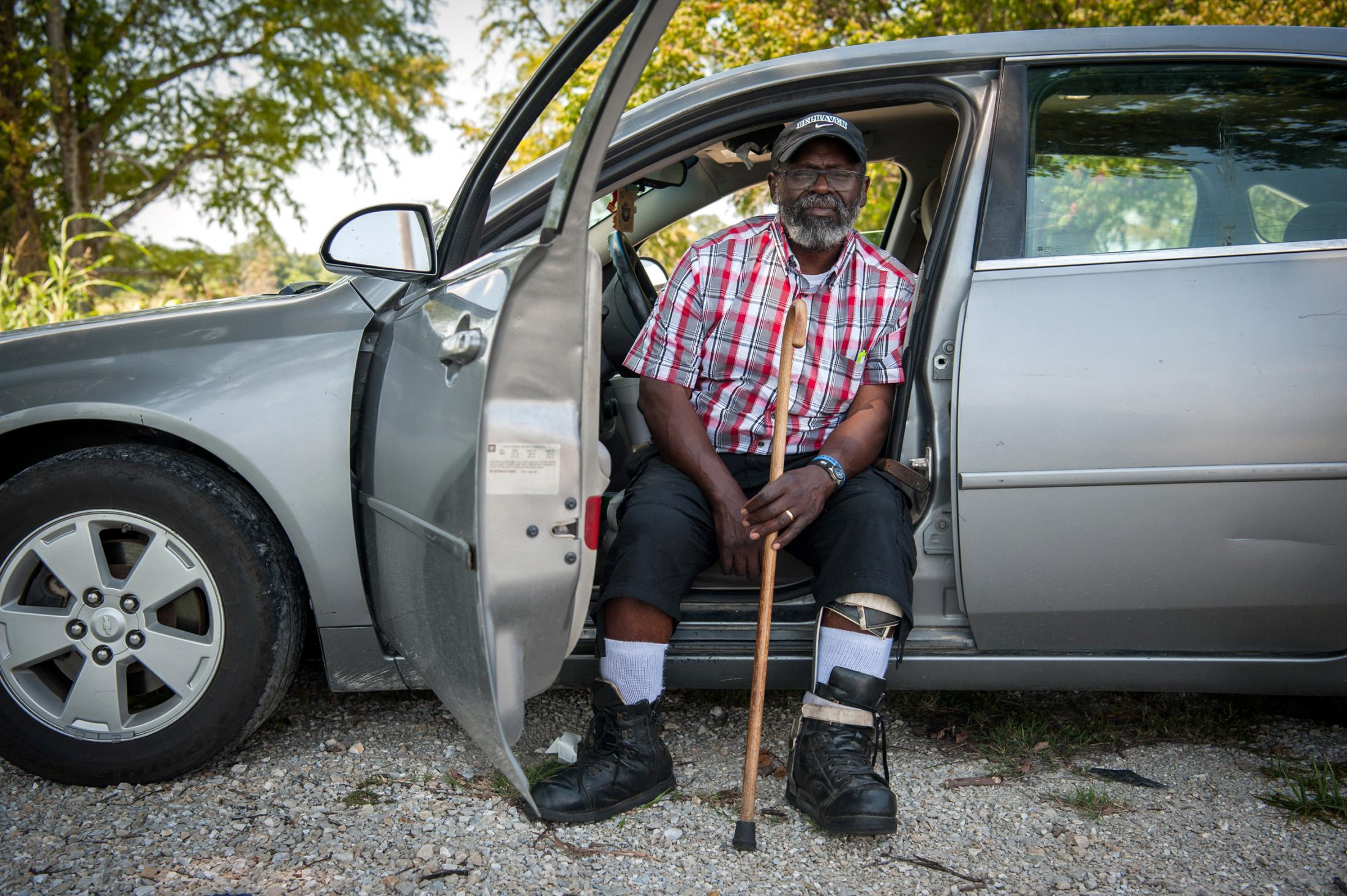 "Anderson Jones poses for a portait in Onward, Mississippi on July 27, 2019. Jones, a lifelong resident of Fitler, Mississippi, said he would do whatever it takes to repair his home from flood damage. ""I've lived in that house my whole life. Where am I going to go if I can't move back?"" Photo by Rory Doyle for The Guardian."