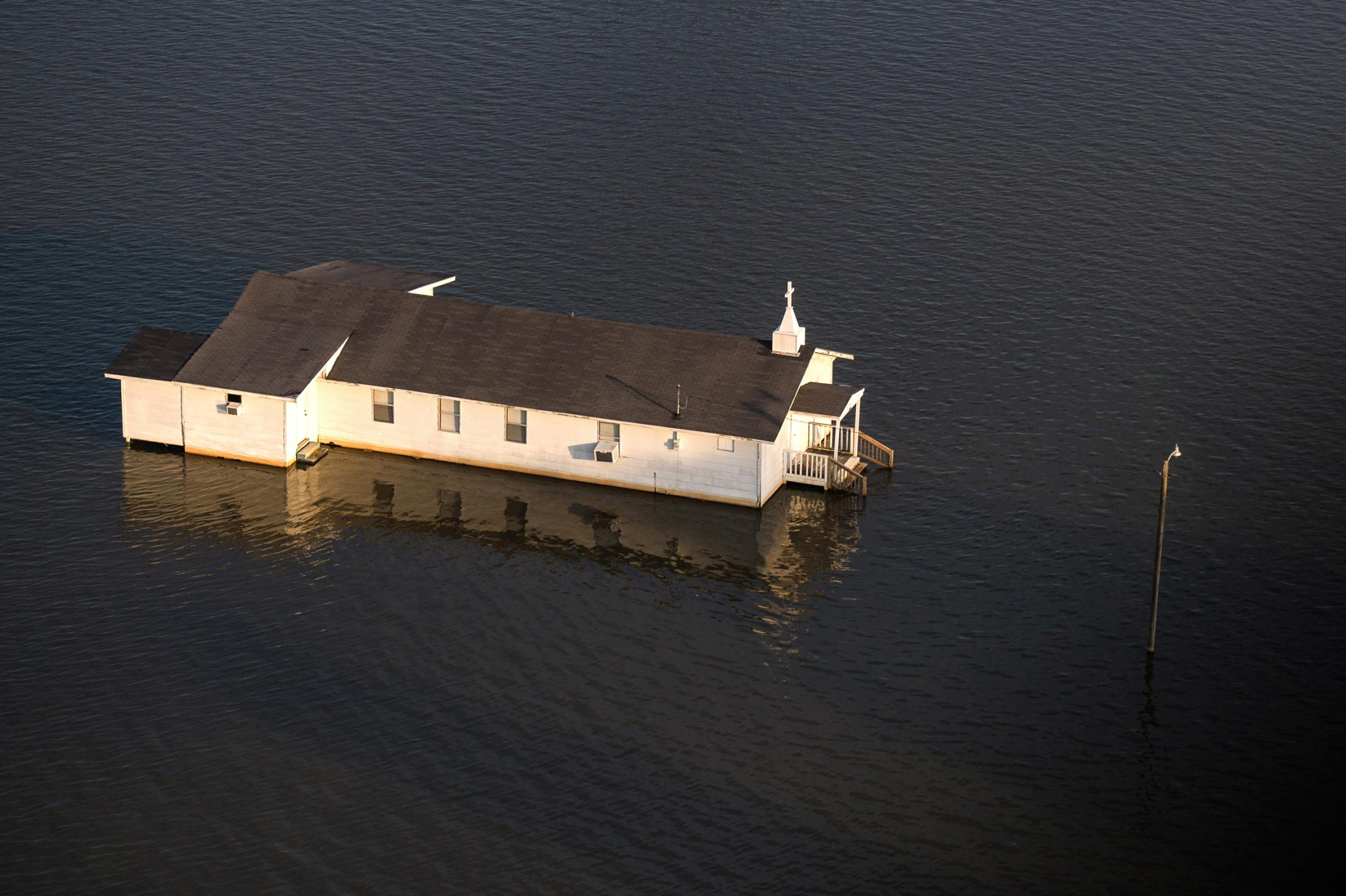 Backwater flooding surrounds Pleasant Grove Baptist Church in Issaquena County June 14, 2019.