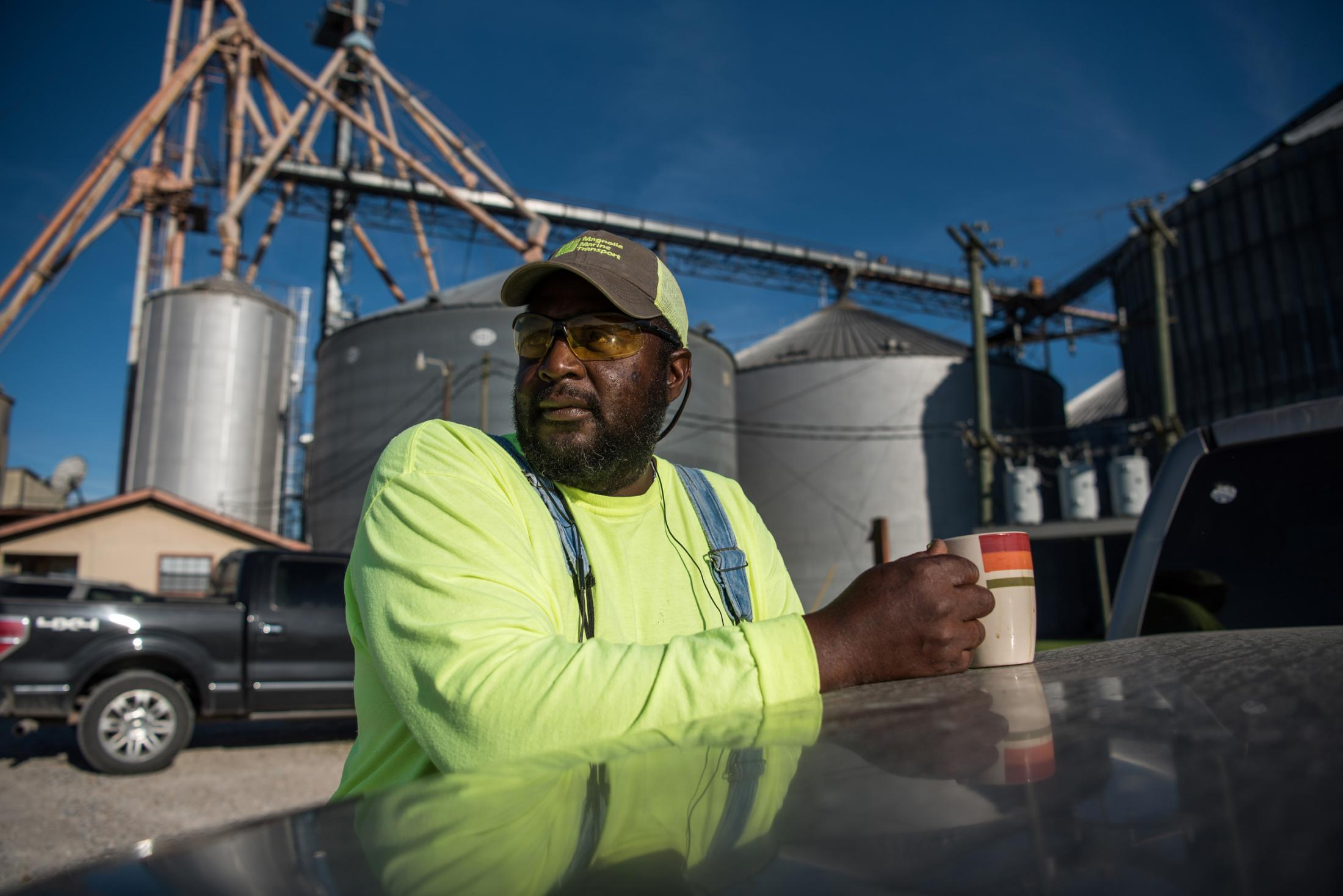 Roy DeFrance poses for a portrait outside of Valley Park Elvator, Inc. in Valley Park, Mississippi June 14, 2019. DeFrance has worked for the grain company since 1986 and is concerned about keeping his job with minimal product coming into the facility this year.