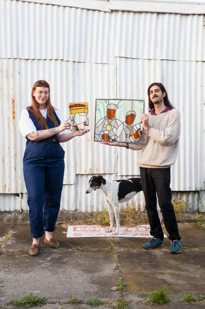 Melbourne couple Nicolas Caris and Samantha Seary are applying their fresh, fun aesthetic to the traditional art of lead lighting, with panels inspired by hip-hop album covers and vintage Playboy magazines.