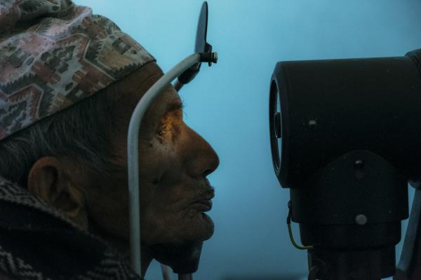 Chandra Bdr. Mangrati 78 yrs. old has his eyes auto refracted in a multi day vision clinic in Taplejung, Nepal. Many of the blind are elderly and living in poverty. Having vision restored provides them the opportunity to change their circumstances.