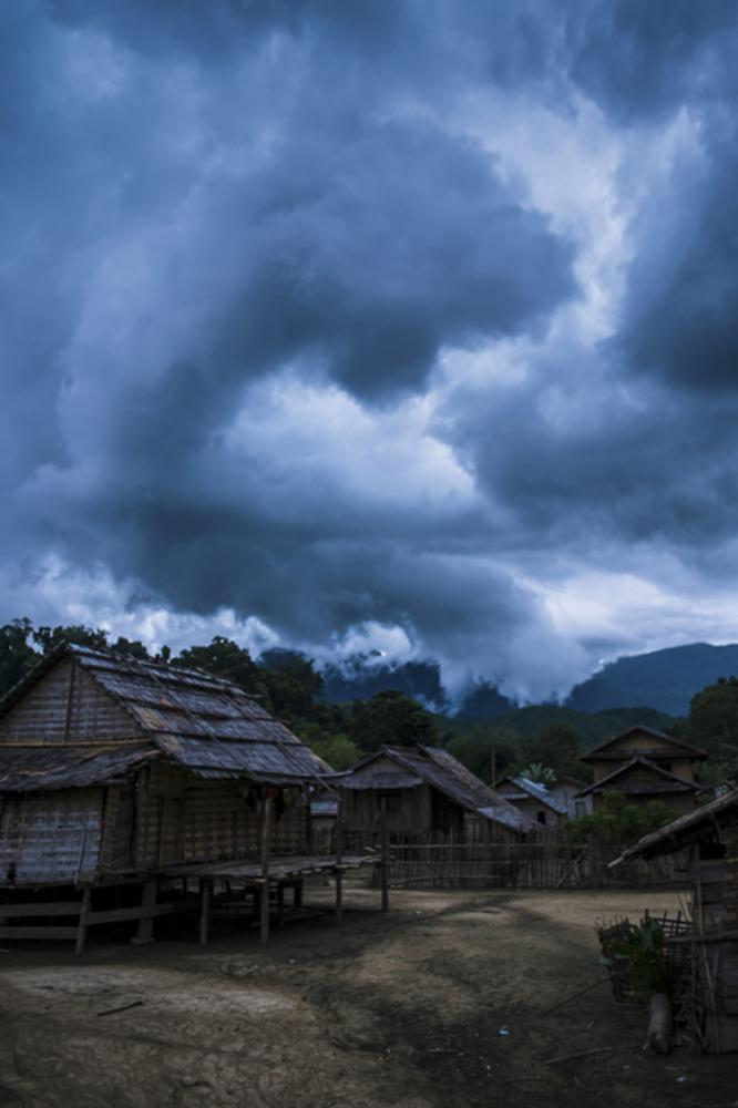 Intense clouds fill the sky as a storm approaches in Laos.