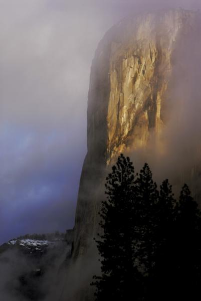 Morning light on El Capitan in winter. Yosemite National Park, California.