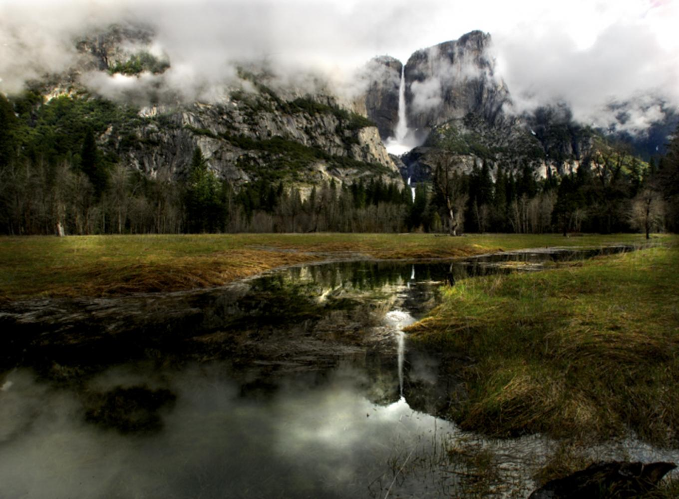Giant puddles fill the valley of Yosemite National Park. California.