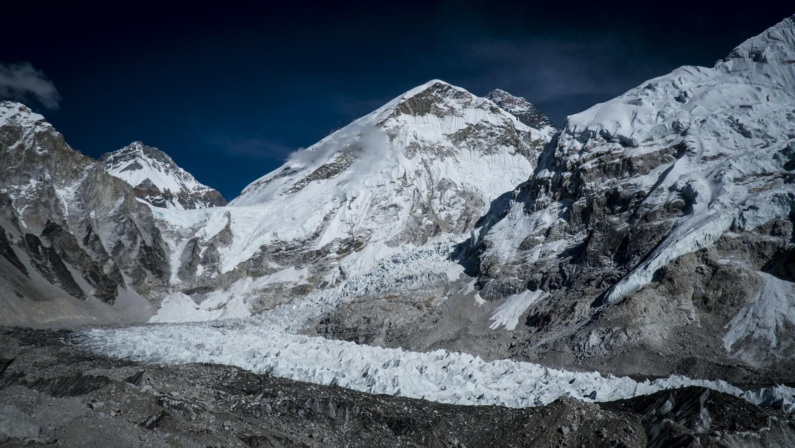 The Khumbu Ice Fall leads the way to the base of Mt Everest.