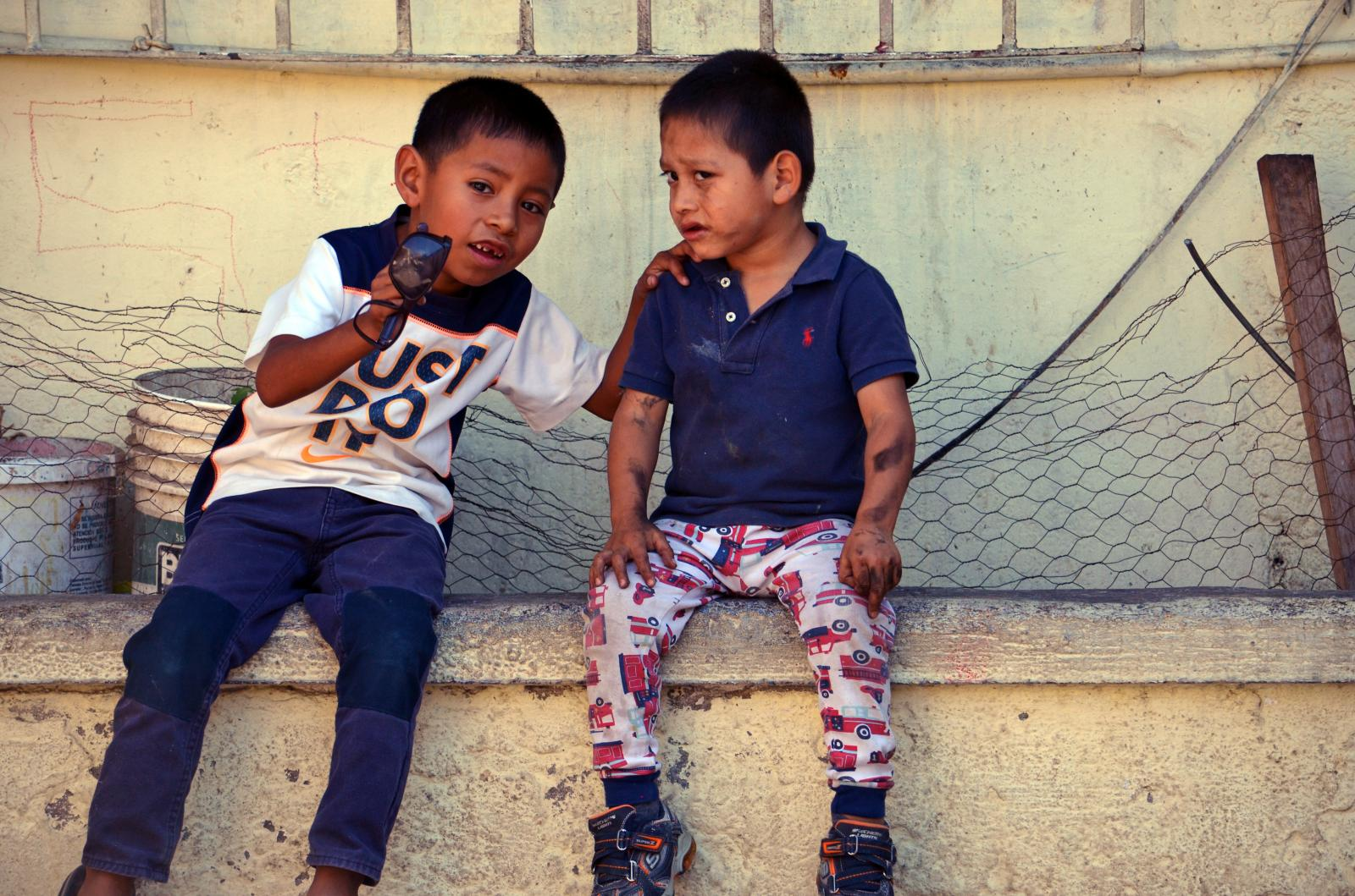Photography image - Loading Two_little_boys_in_shelter.jpg