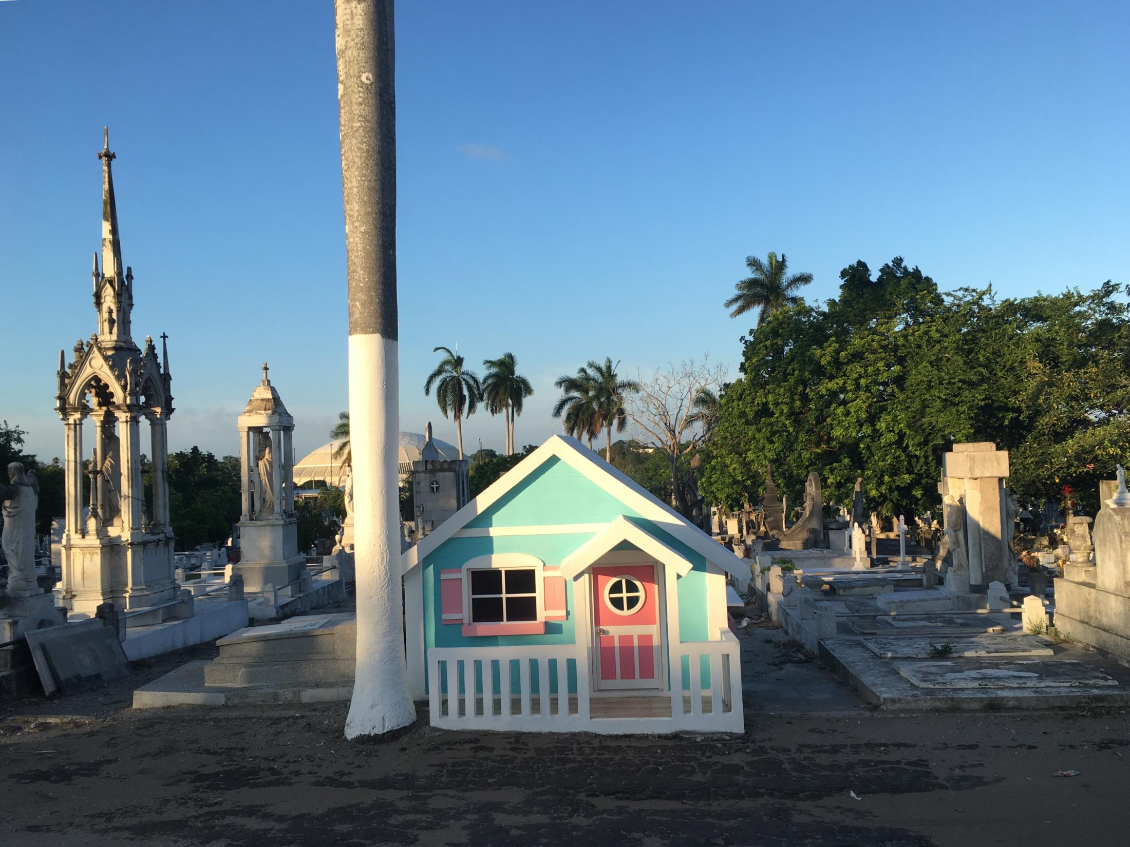 Tampico, Tamaulipas México. 2018. A playhouse built in the local cemetery to honor a child who had passed away. I was accompanying my parents and grandmotherto visitthe graves of diseased family members.