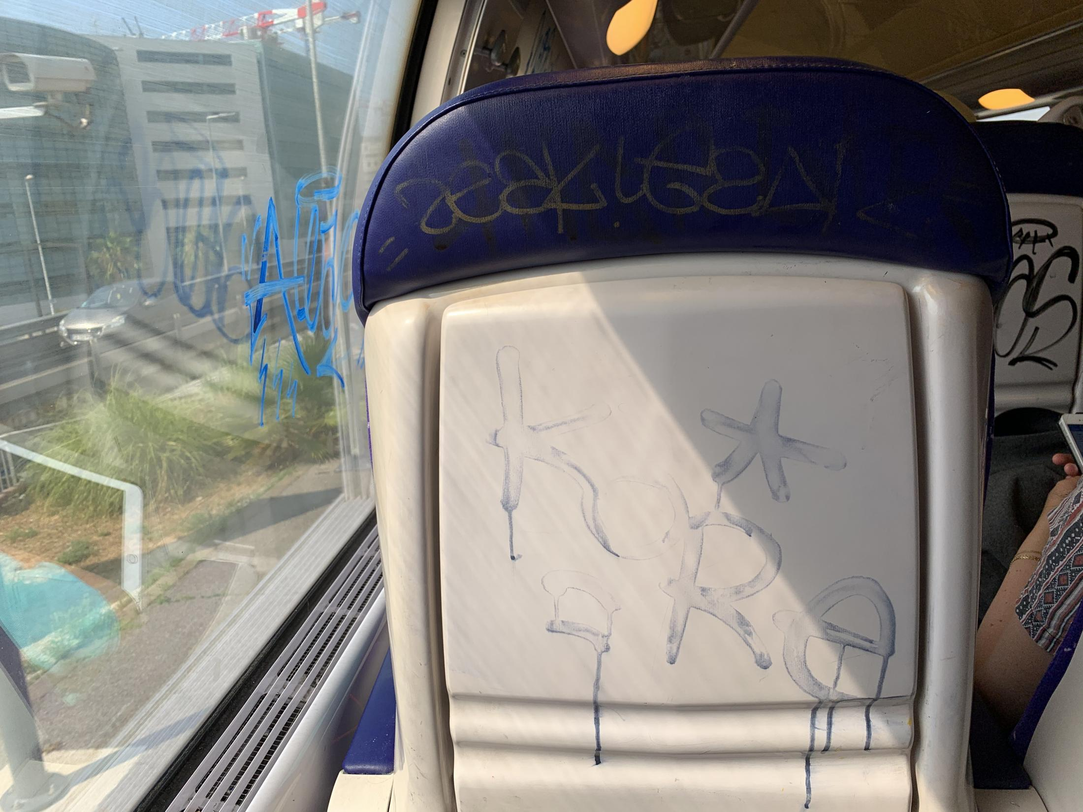 Nice, Provence-Alpes-Côte d'Azur, France. 2019. Graffiti inside a regional train in the south of France. After arriving from Norway, I was on my way to Toulon to meet up with my parents and grandfather for lunch.