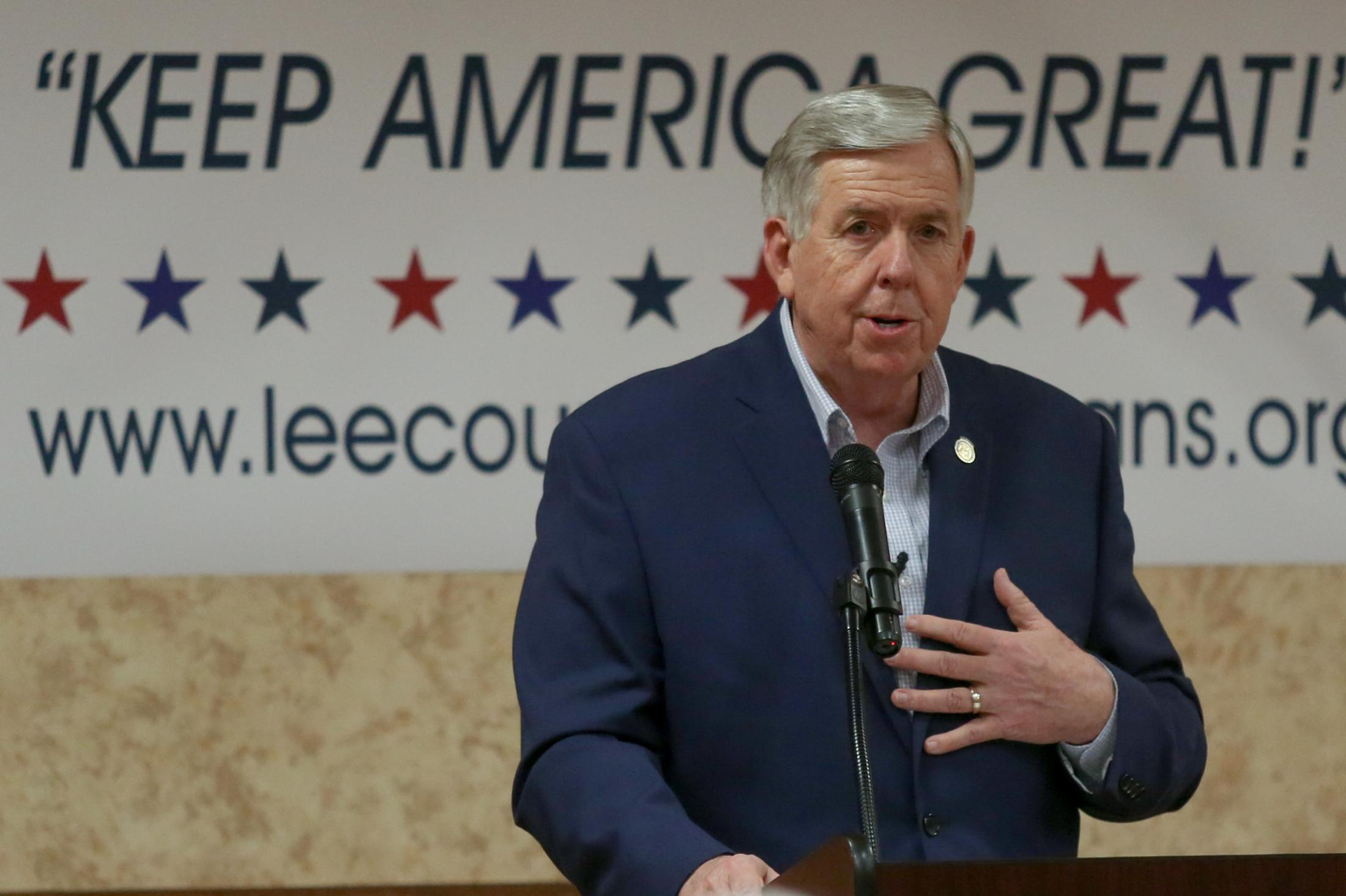 """Missouri Governor Mike Parson speaks to voters gathered at the Lee County Republican caucus on Monday, February 3, 2020, at a Quality Inn and Suites in Fort Madison, Iowa. Governor Parson quoted President Trump in his speech saying, """"America will never, ever, be a socialist country."""""""