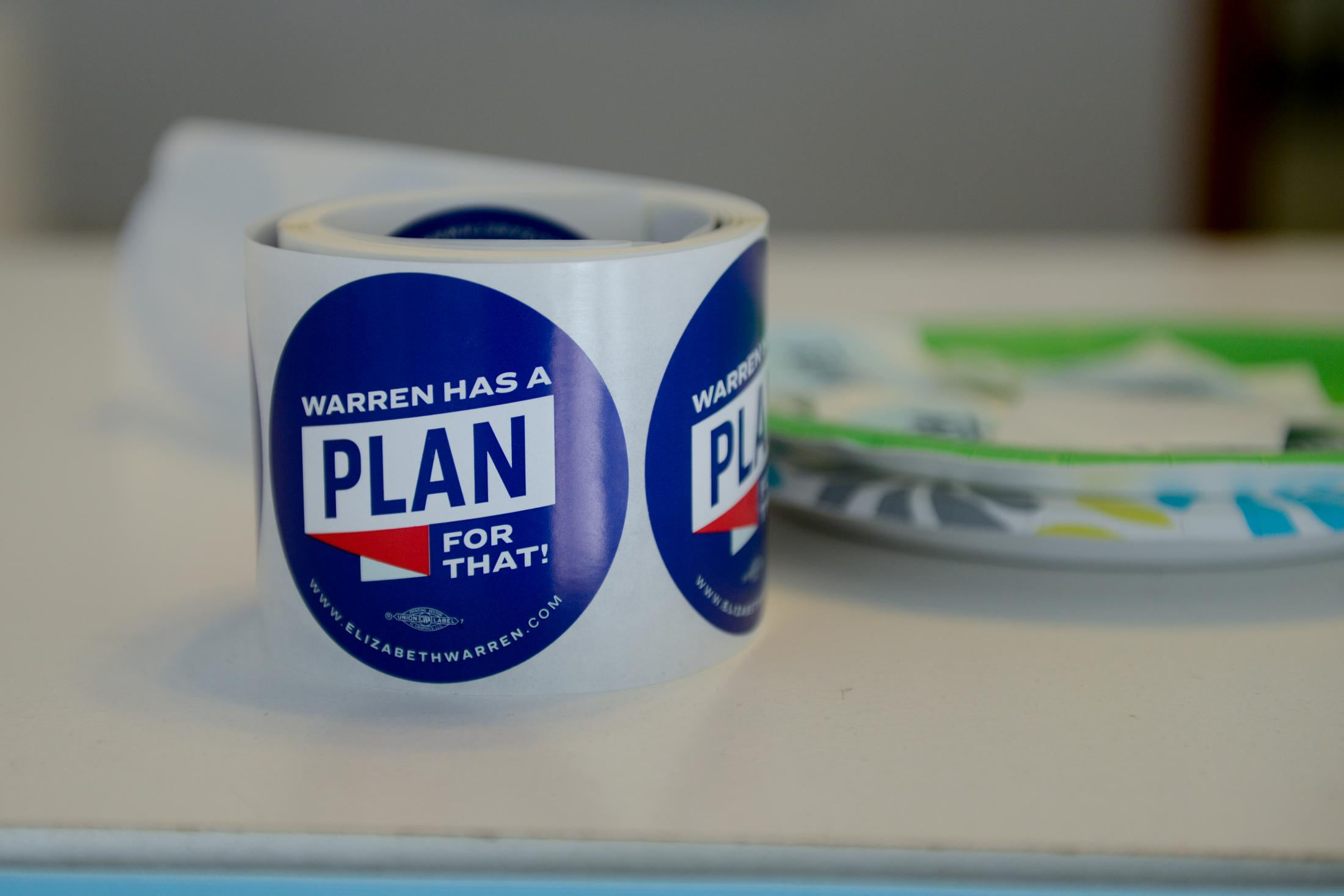 A roll of campaign stickers sits on the counter of the Elizabeth Warren presidential campaign office on the day of the Iowa caucus Monday, February 3, 2020 in Fort Madison, Iowa. Senator Elizabeth Warren is not in Iowa for the caucus because she is in Washington, D.C. along with fellow democrats Senator Bernie Sanders and Senator Amy Klobuchar for the impeachment trial of President Donald Trump.