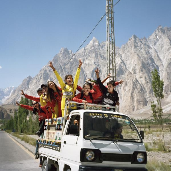 Teens from Gulmit town load onto a van after an all-female soccer tournament meant to promote gender equality in the town of Passu in Hunza Valley, Pakistan. As followers of Aga Khan, Ismailis are the primary inhabitants of Hunza Valley. This region of Pakistan is known for gender equality, religious tolerance, and stark beauty. Copyright © Sara Hylton/Redux Pictures, 2018