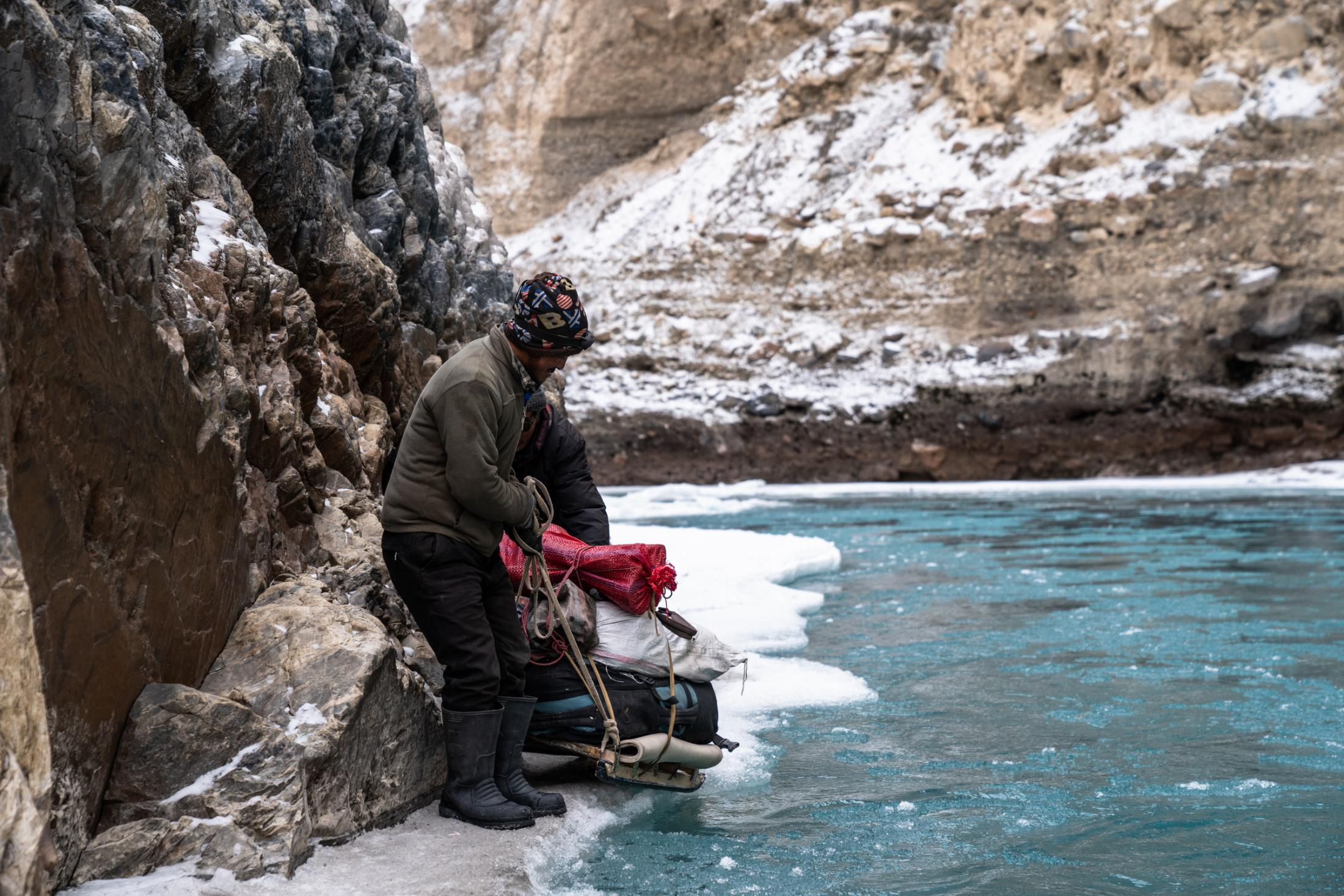 Dragging the ice sled past an extremely thin part of the Chadar.