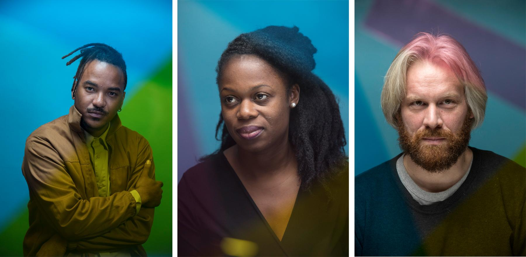 Portraits (left to right) director Ery Claver, journalist and film critic Djia Mambu, film producer Florian Schewe.