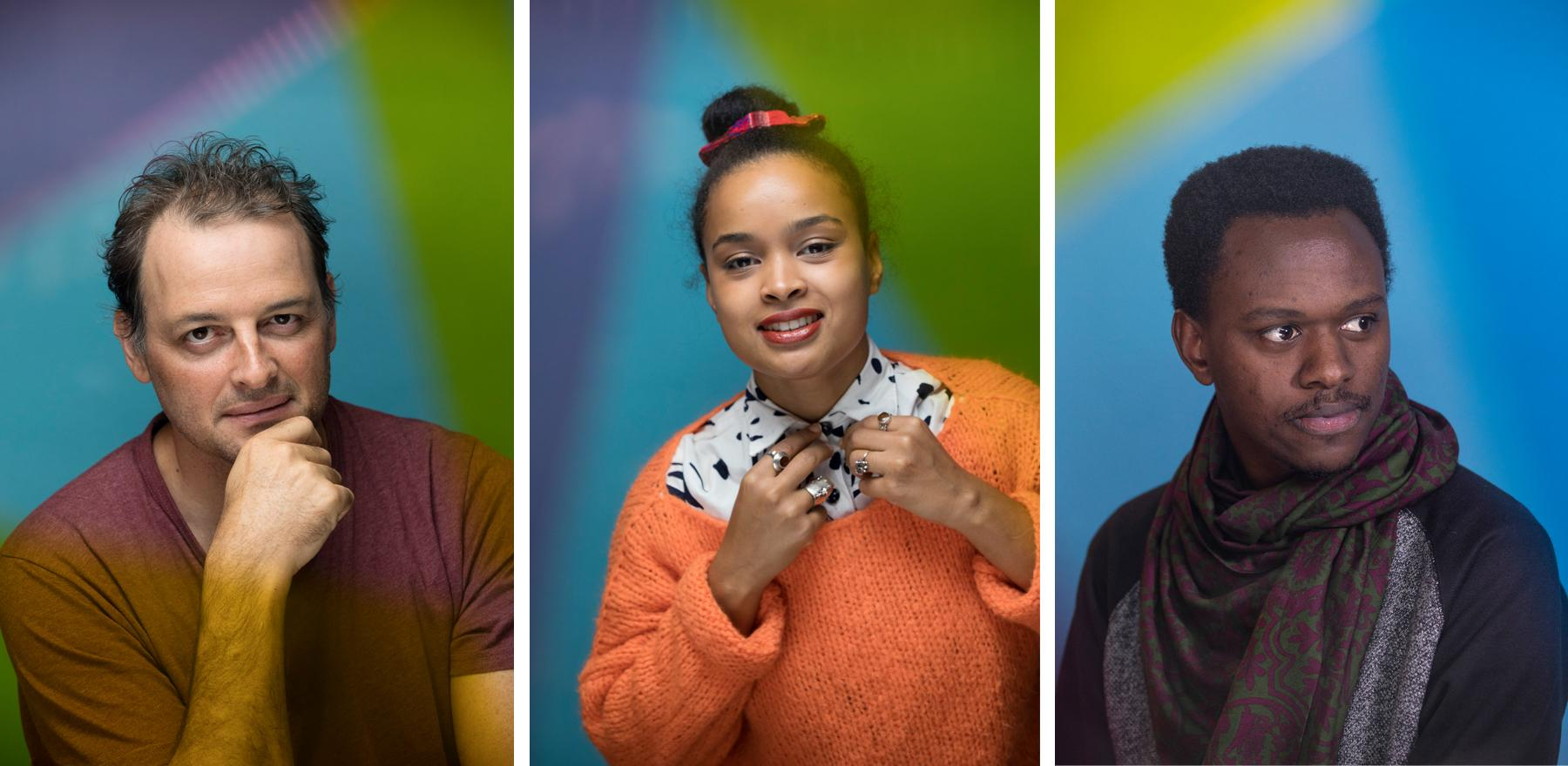 Portraits (left to right) DOP Pipas Forjaz, performance artist & actress Rebecca Pokua Korang and director Philbert Aime Mbabazi.