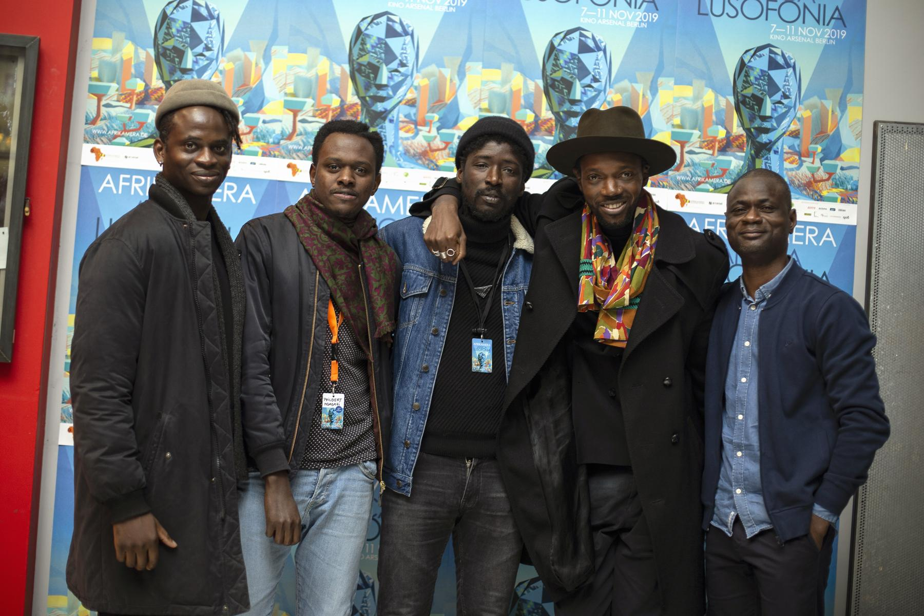 Left to right: Wayne Snow (Nigerian musician), Philbert Mbabazi (Oscar nominated director and screenwriter) , Alassane Si (actor/ director), Baloji (rapper/director) and Alex Moussa at the lobby of Arsenal, Berlin.