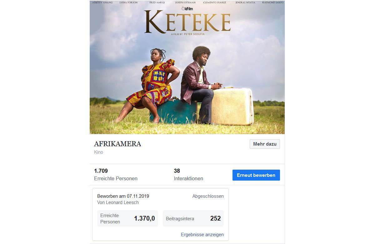 """Reach out of Facebook campaign for the opening film""""Keteke""""."""
