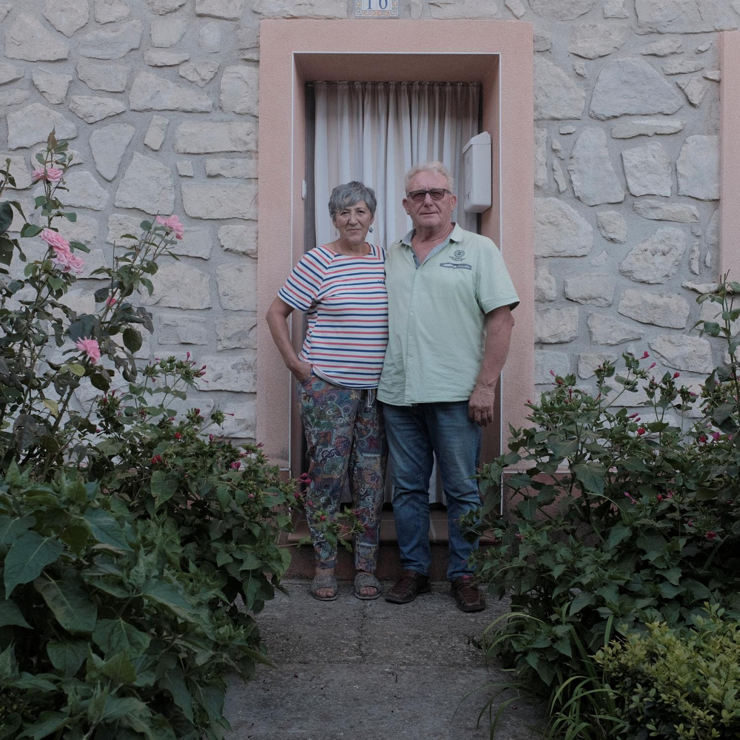 Eduardo Navarro (63) and Virtudes (63) a couple of Bardenas (Zaragoza) a settlers town builded in 1957 in the door of their house. After the Spanish civil war in 1936, under Francisco Franco�s dictatorship, an agriculture reform was enforced leading to the building of more than 300 new towns all around Spain. This towns were populated with people coming from other rural impoverished areas but most of them are in high risk of disappearing because the new generations are moving to cities and abandoning these areas. Copyright: Spanish photojournalist Andoni Lubaki.