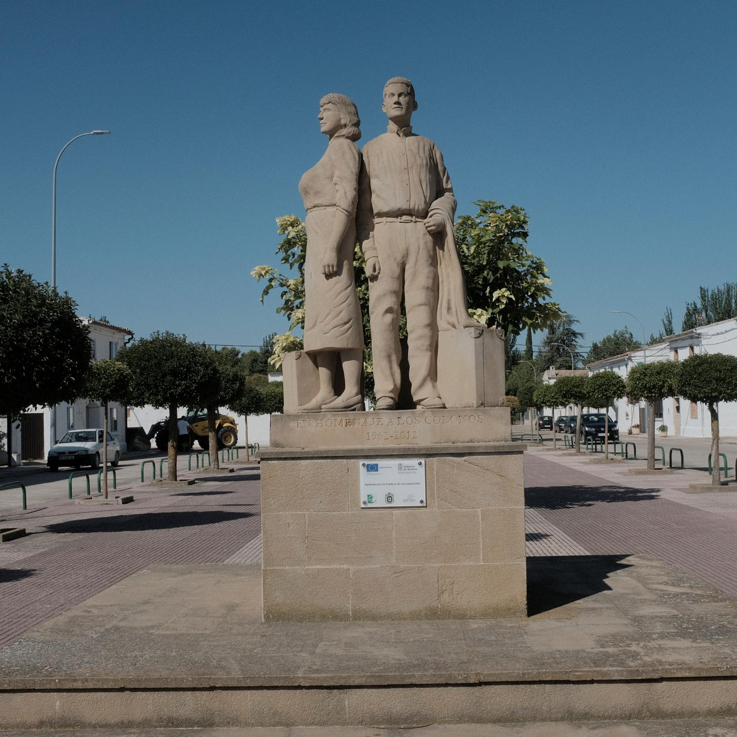 A statue in memory of the first settlers in Figarol (Navarre).After the Spanish civil war in 1936, under Francisco Franco�s dictatorship, an agriculture reform was enforced leading to the building of more than 300 new towns all around Spain. This towns were populated with people coming from other rural impoverished areas but most of them are in high risk of disappearing because the new generations are moving to cities and abandoning these areas. Copyright: Spanish photojournalist Andoni Lubaki.