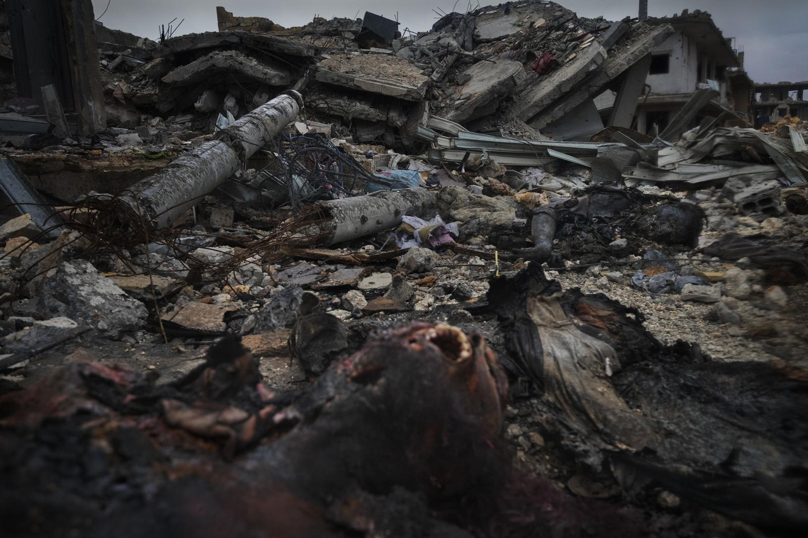 Burned corpses of ISIS jihadists in the destroyed city of Kobane during fighting there. The fall of Kobane signaled the beginning of the end of the caliphate project (Syria, 2015)