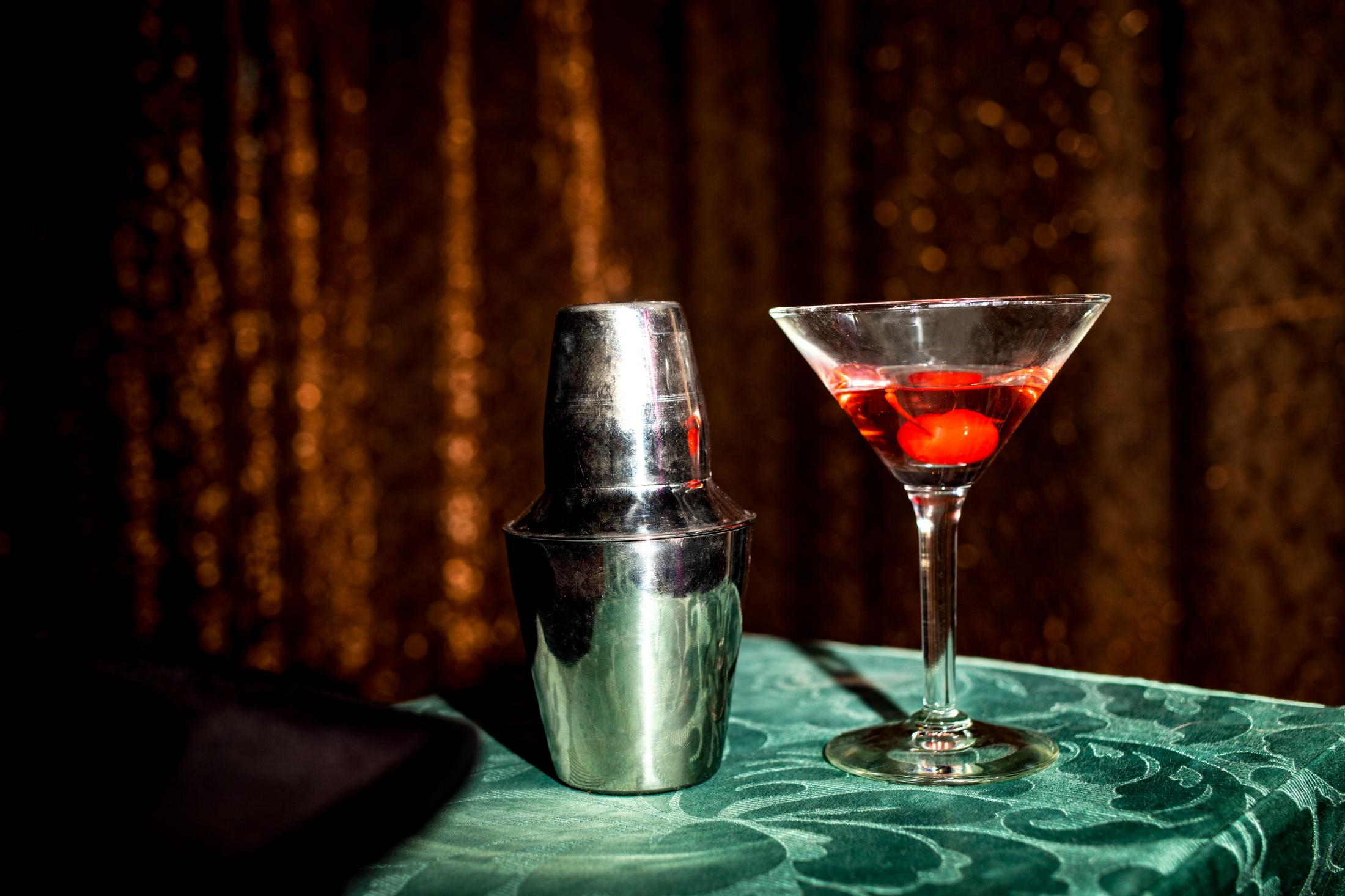 A cocktail shaker and a glass used as magic props by Carisa Hendrix, 32, aka Lucy Darling, during a show at the Magic Castle Cabaret in Santa Barbara, California.