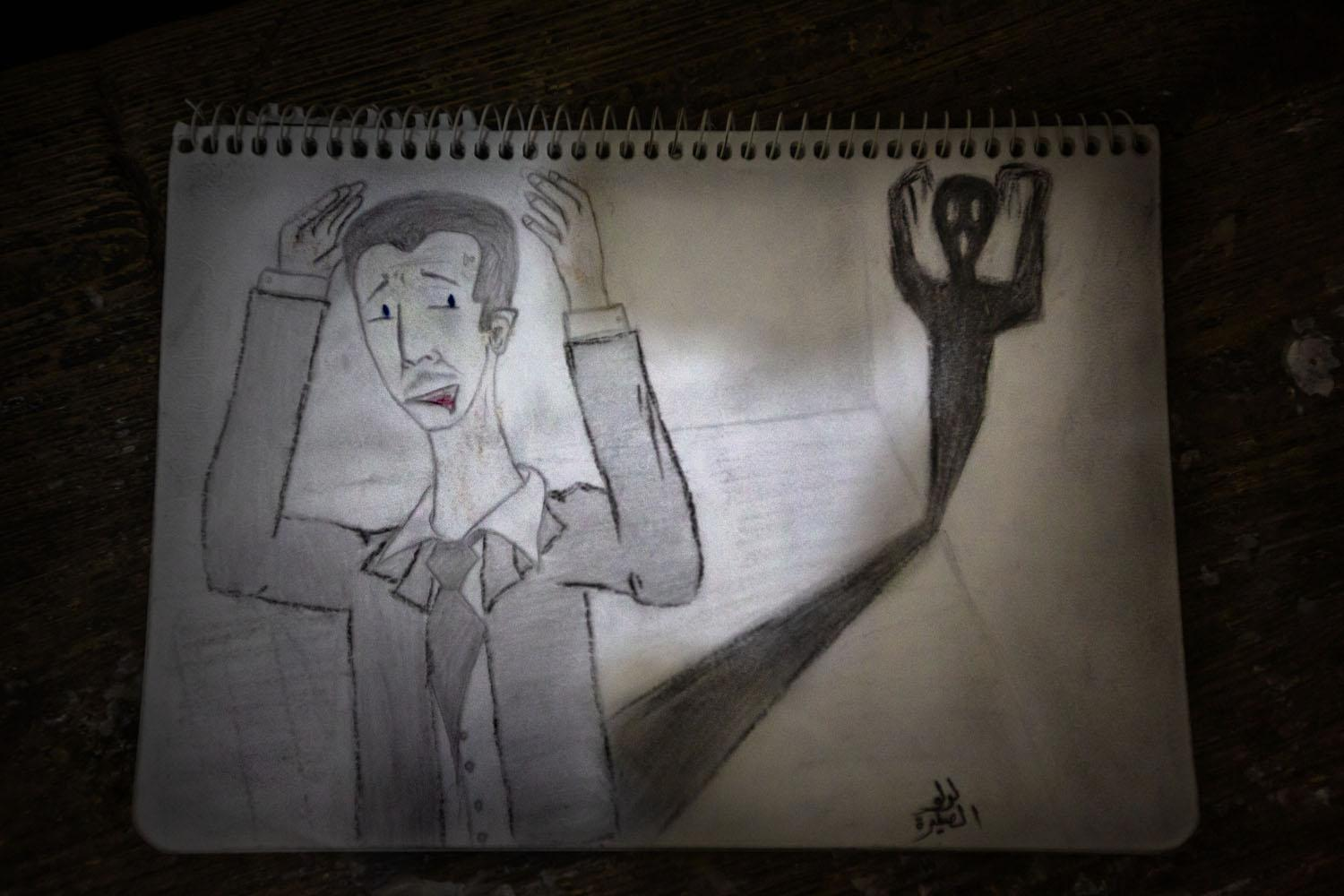 A drawing by an 18-year-old girl named Ahad representing the image she had of President Assad (he's afraid of his own shadow), she explained. Ahad's drawing resembles the painting by Edvard Munch entitled The Scream,though she had neverseen itbefore (Syria,2012).