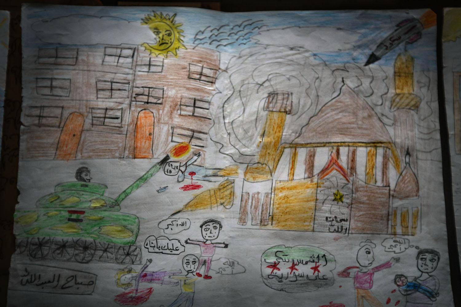 """Drawing by an 11-year-old boy named Sabah Al Abdullah with scenes of death and destruction of civilians that he witnessed in the city of Aleppo. On the Syrian flag adopted by the Revolution (lower right margin) """"The sun weeps for Syria"""" can be read. This was the Syrian flag of 1930. It was also the country's official flag during the process of independence until 1932, and its later participation in and occupation during World War II, until it joined the United Arab Republic. After Syria left the Union in 1961, the previous independence flag was re-adopted to disassociate Syria from the failed Union until 1963. Since then, the flag had not been used in an official capacity until the outbreak of the civil war (Syria, 2012)."""