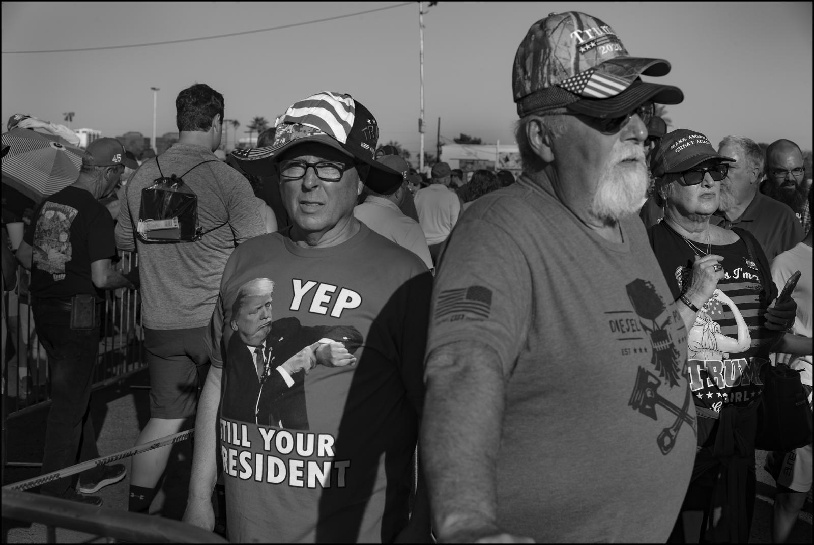 Waiting in lines to attend campaign rally in Phoenix, Arizona USA. Donald Trump supporters.February 2020.