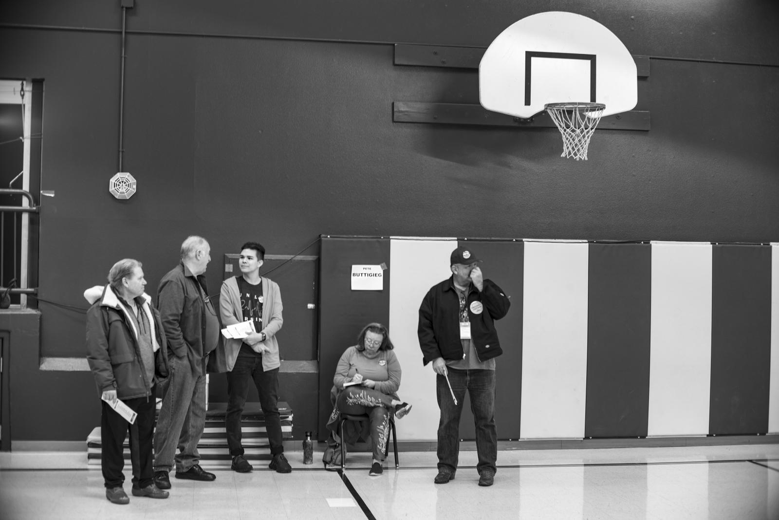 Supporters of Pete Buttigieg, first round of caucus voting in the Nevada Democratic voting. Mt. Charleston, Clark County Nevada. February 2020.