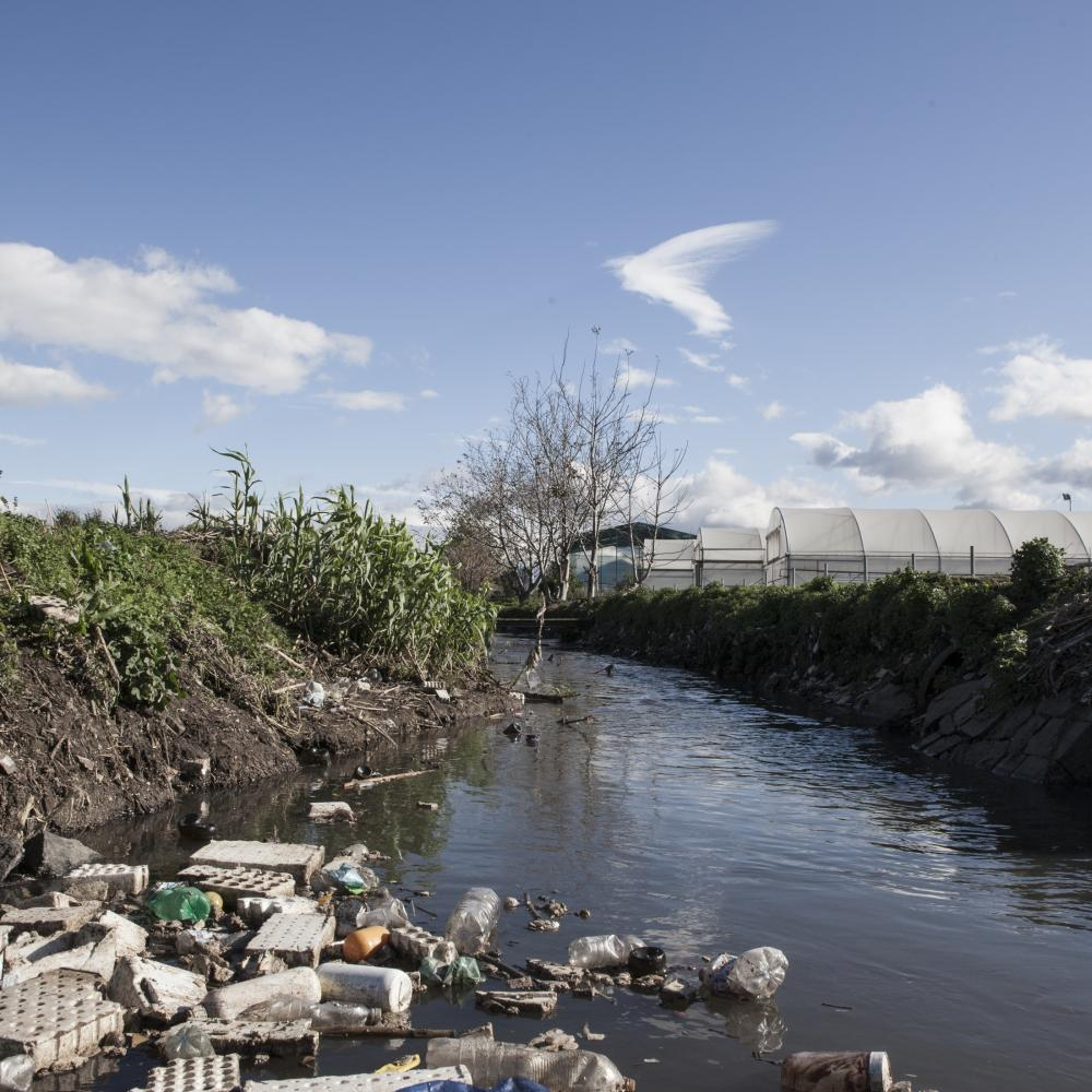 Scafati, November 2018. Heap of solid waste poured by farmers The interior of the San Tommaso Canal. Often, in addition to this waste, various pesticides and chemicals used in agriculture are also released into the river.