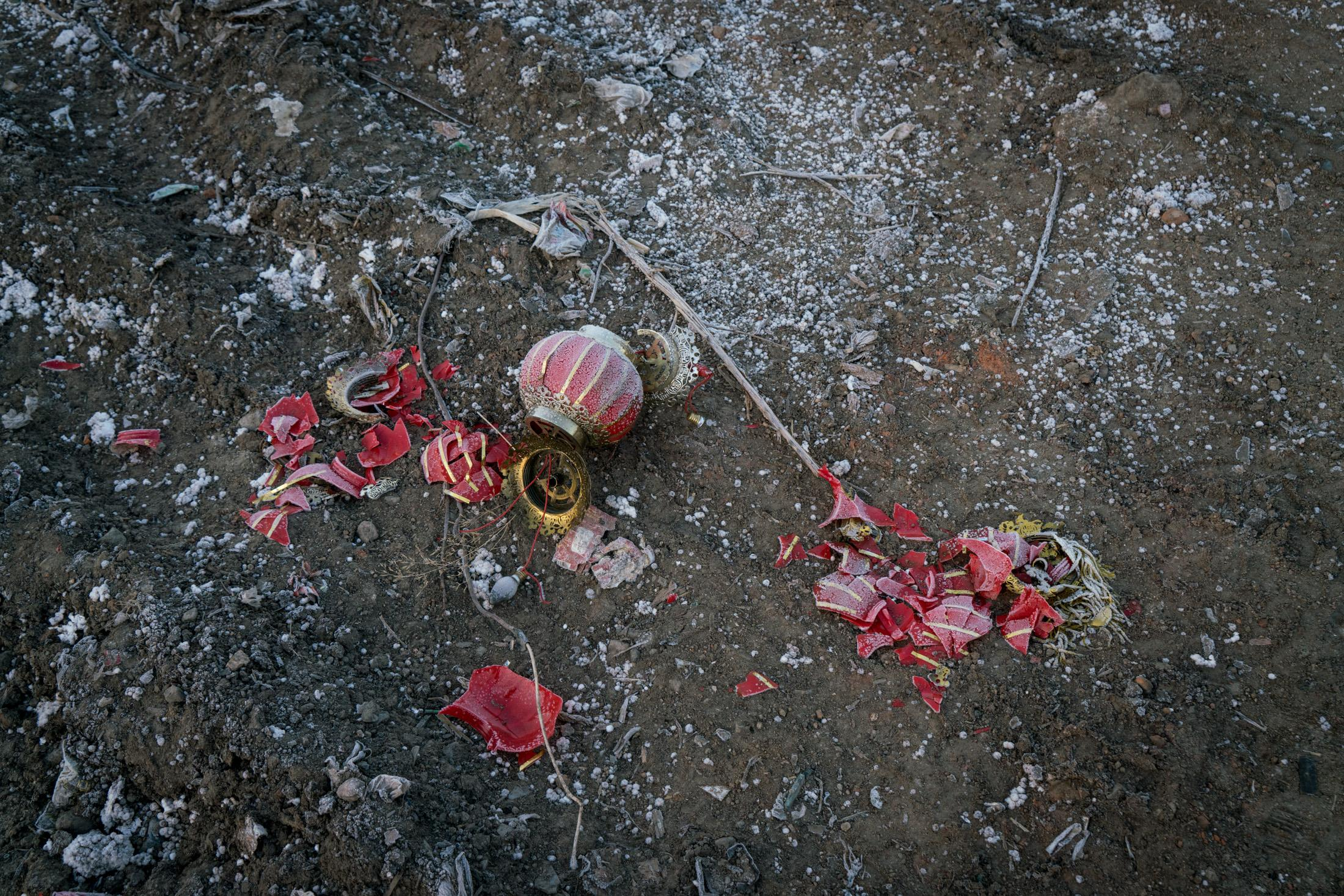 Broken home decorations left on the floor in the aftermath of demolition at Taizicheng village, Chongli, China, November 2016. Taizicheng village is designated to be the location for the Olympic village for 2022 Winter Olympics.