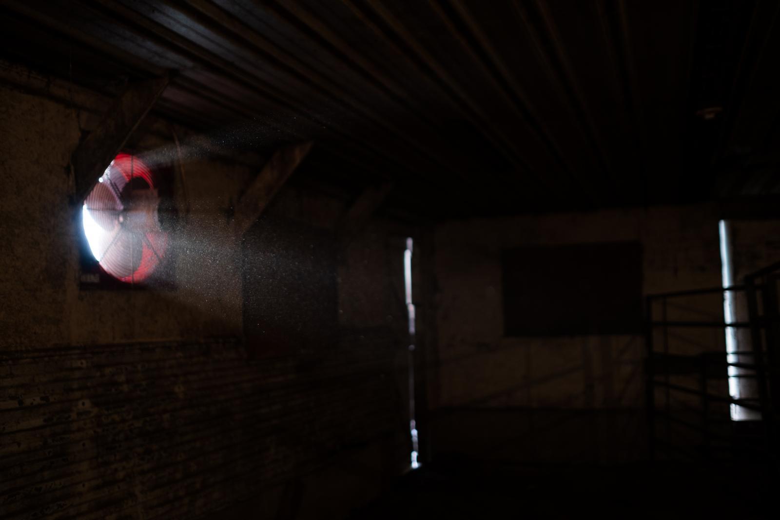 Light coming in a fan in my cousins' barn.