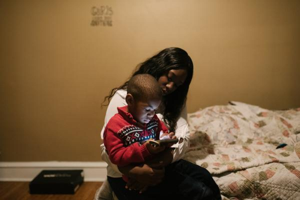 Shanaya Ball, 27, sits with her son, Amari Shuler, 2.5, her home in Philadelphia, PA. on Thursday, February 20, 2020. Ball discovered high lead levels in her son after she received a notification from the city that her home had high levels of lead. The landlord took three months to take care of it. She has been living in the home for five years. She wonders if this could be why her son has autism and developmental issues.