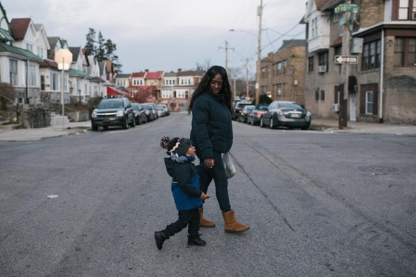 Shanaya Ball, 27, right, walks with her son, Amari Shuler, 2.5, her home in Philadelphia, PA. on Thursday, February 20, 2020. Ball discovered high lead levels in her son after she received a notification from the city that her home had high levels of lead. The lead was found in the paint on all the door frames, baseboards and hallways. Both bedrooms were affected. The landlord took three months to take care of it. She has been living in the home for five years. She wonders if this could be why her son has autism and developmental issues.
